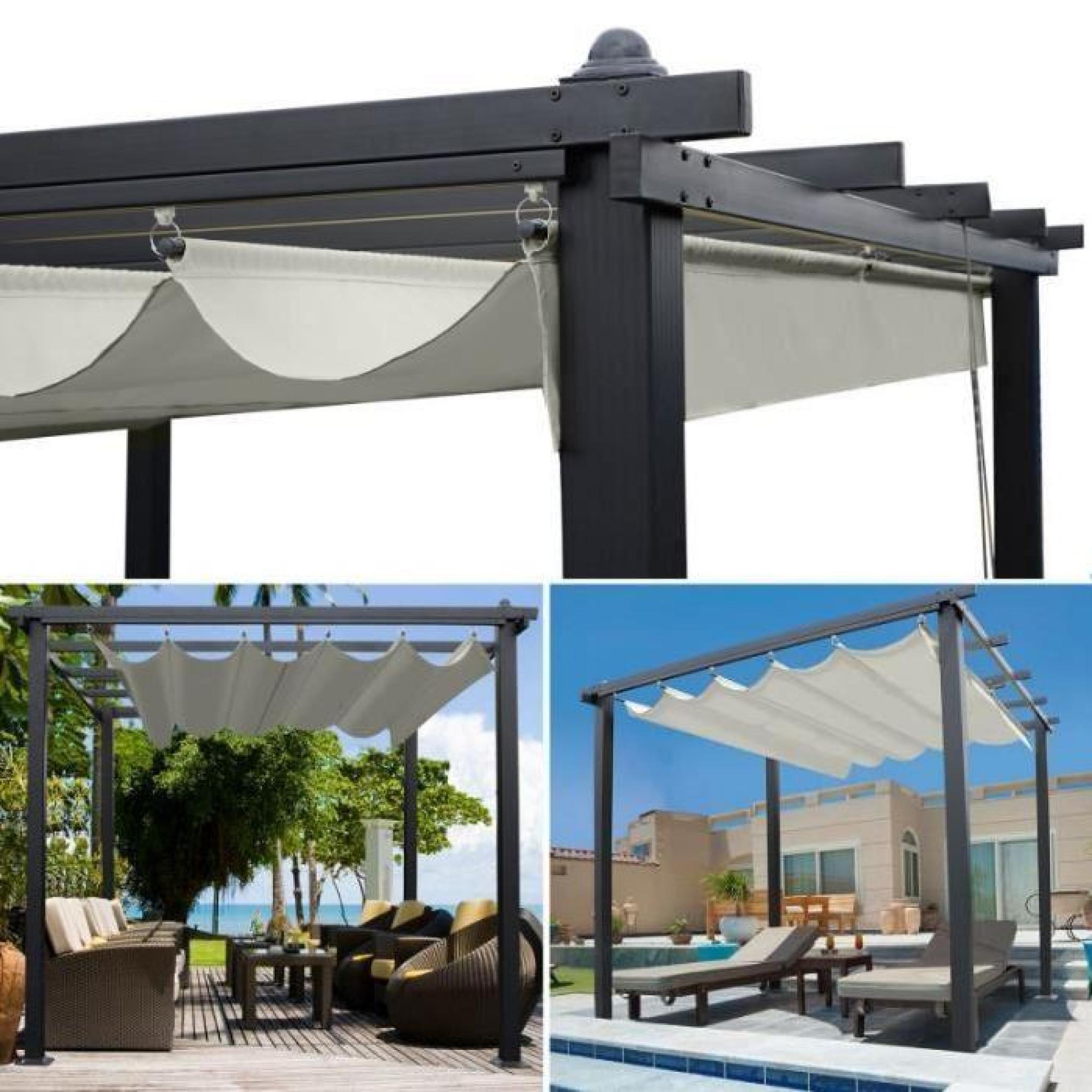 pergola toit r tractable crue tonnelle 4 pieds 3x3m achat vente pergola en aluminium pas cher. Black Bedroom Furniture Sets. Home Design Ideas