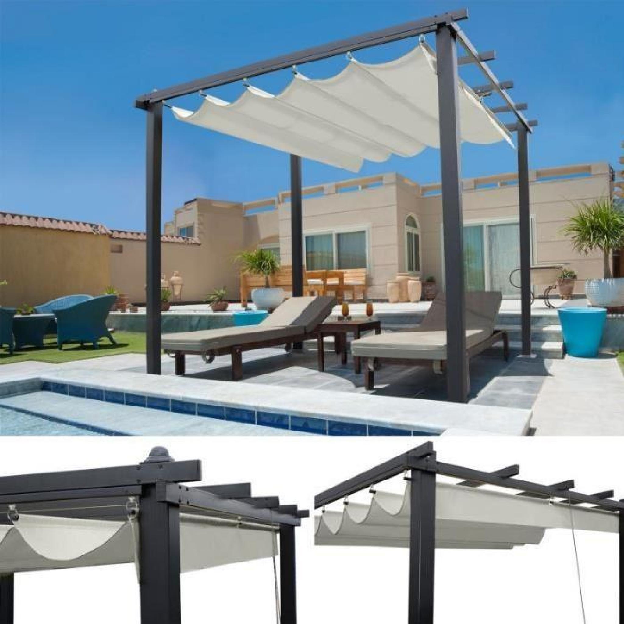 pergola toit r tractable crue tonnelle 4 pieds 3x3m. Black Bedroom Furniture Sets. Home Design Ideas
