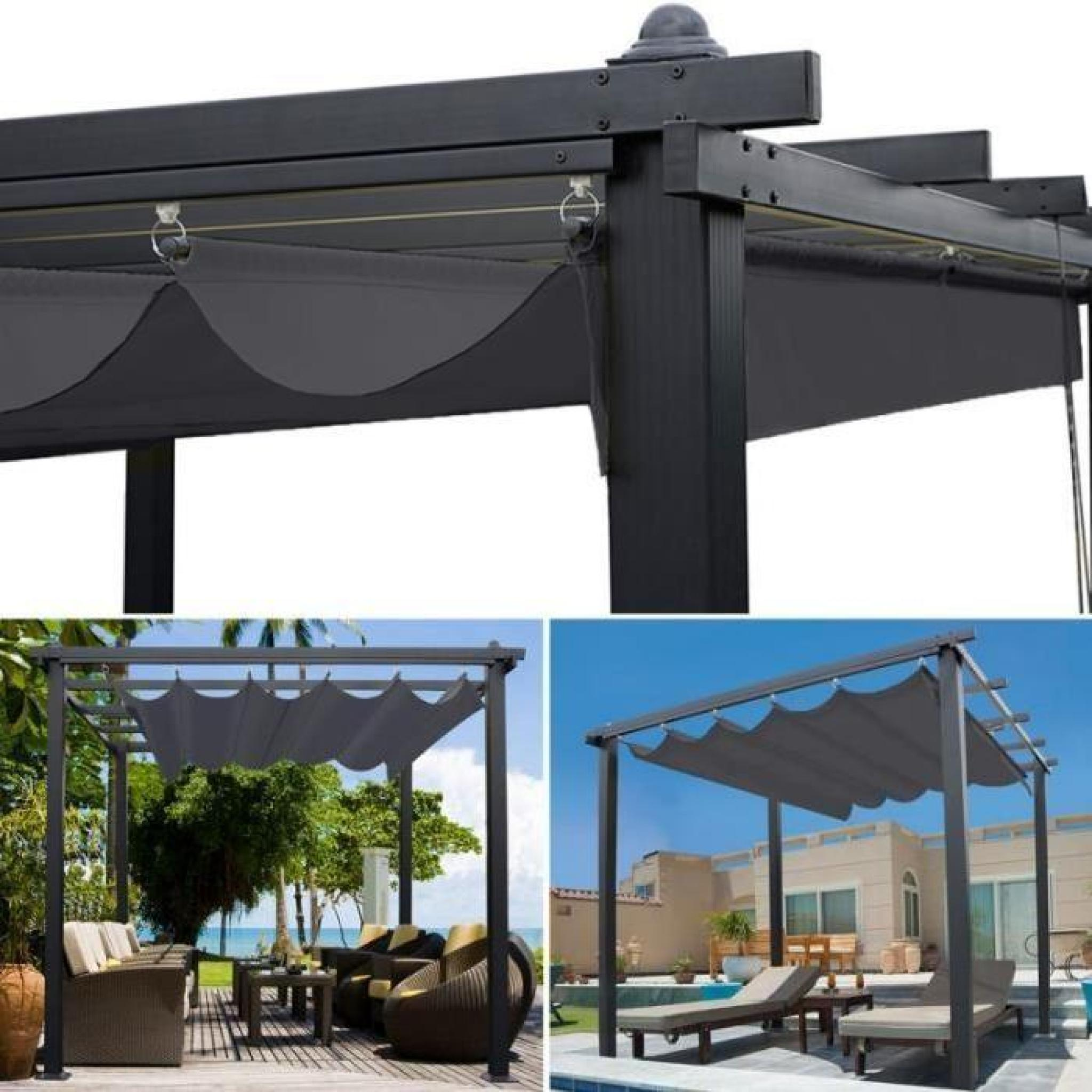 pergola toit r tractable gris tonnelle 4 pieds 3x3m achat vente pergola en aluminium pas cher. Black Bedroom Furniture Sets. Home Design Ideas
