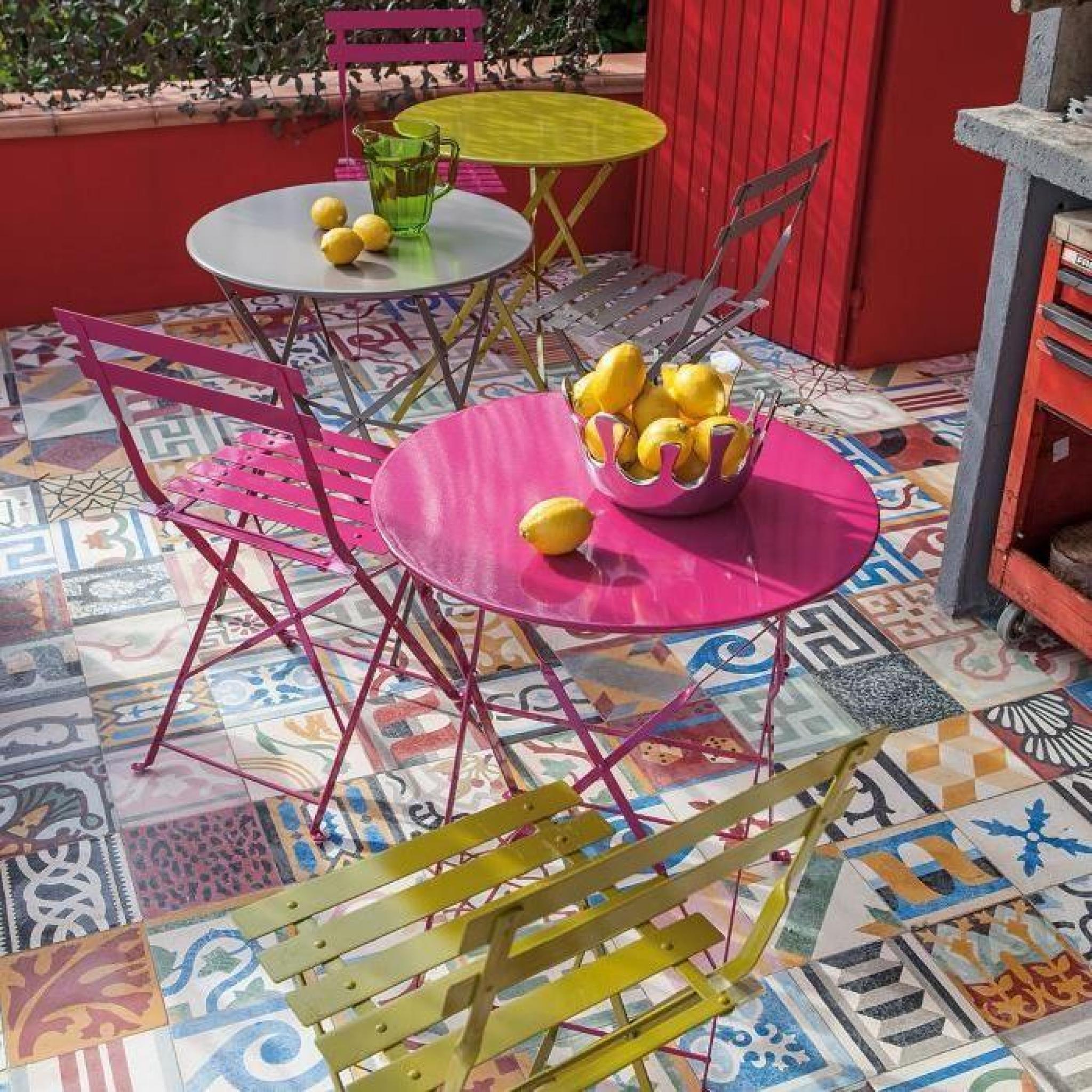 Pims Table de jardin ronde pliante - Rose - Achat/Vente table de ...