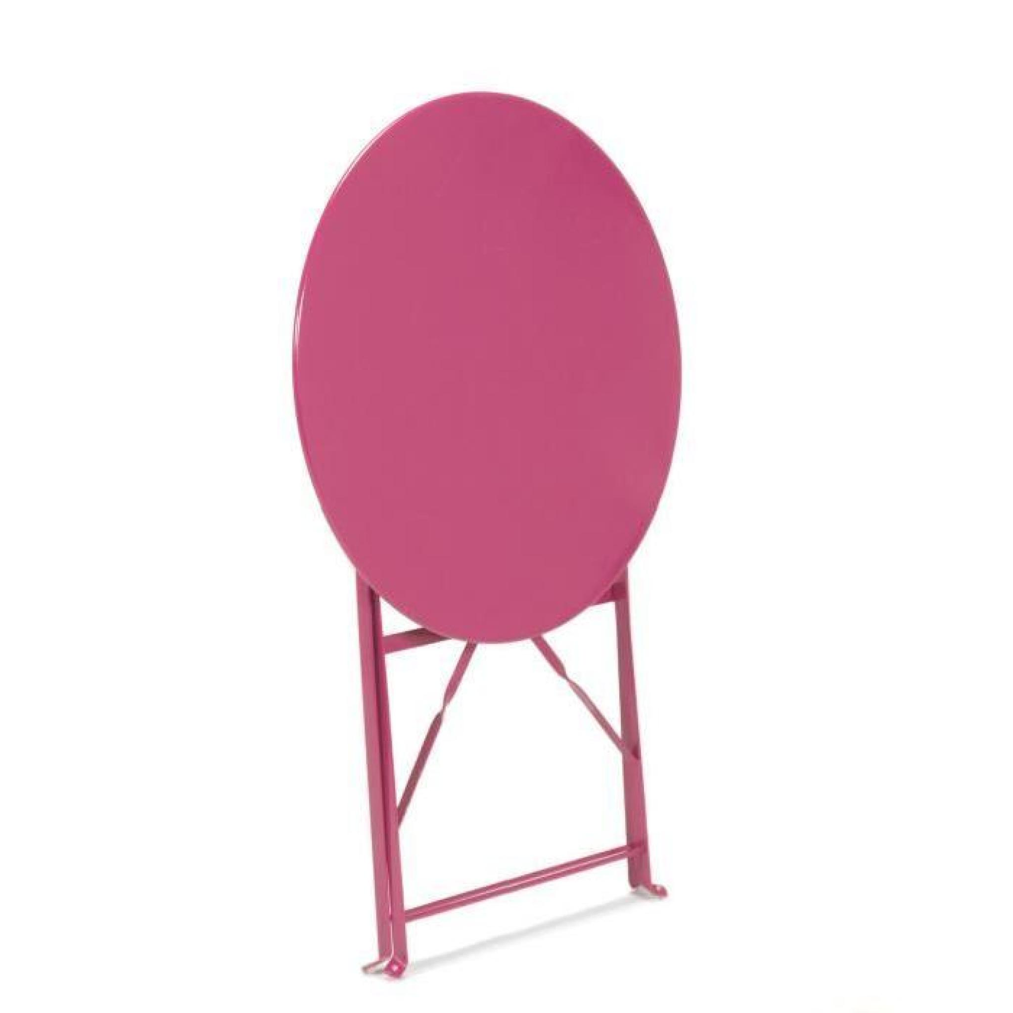 Pims Table de jardin ronde pliante - Rose
