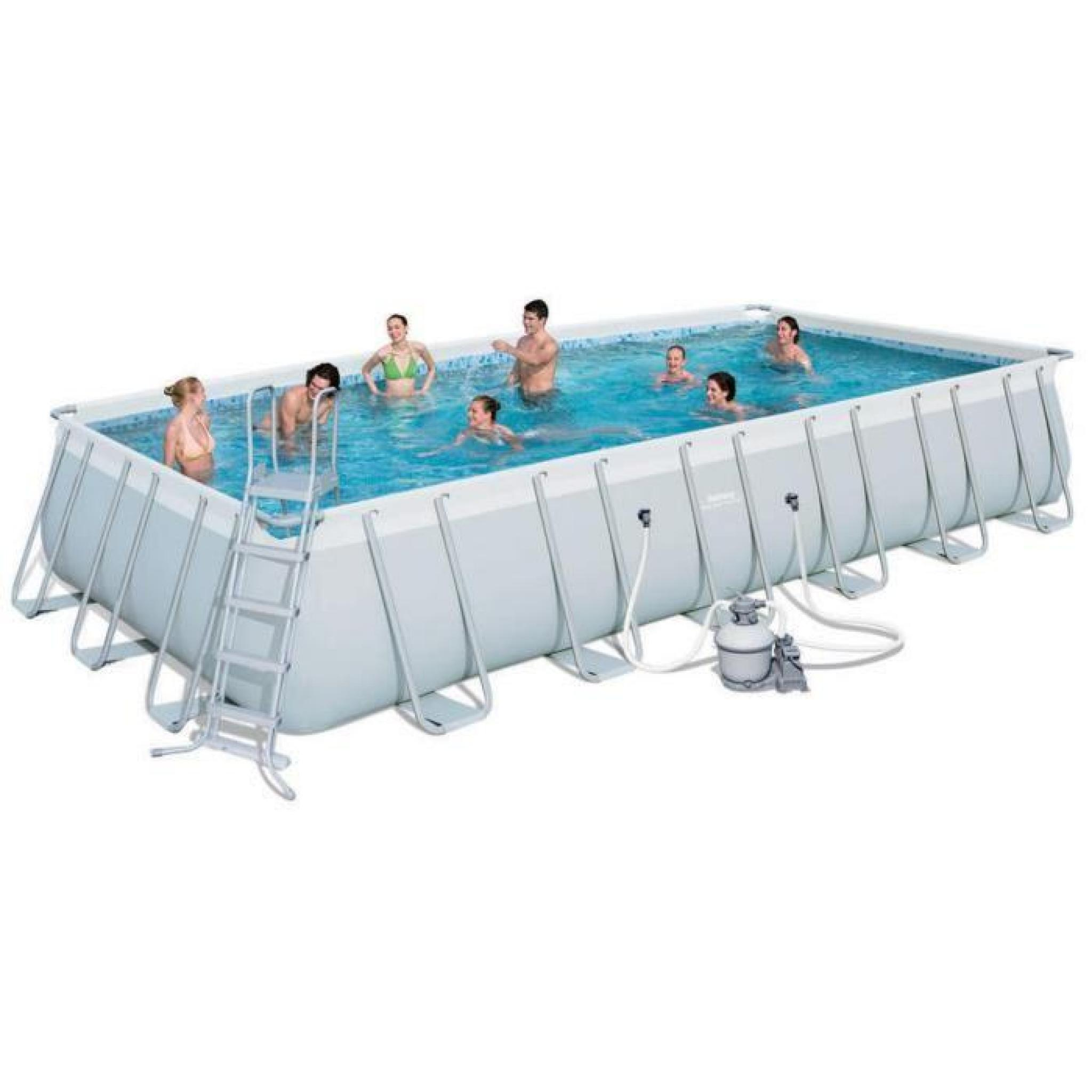 Piscine autoportante tubulaire power steel rectangl 4m12 bestway uni gris c - Piscine autoportante pas chere ...