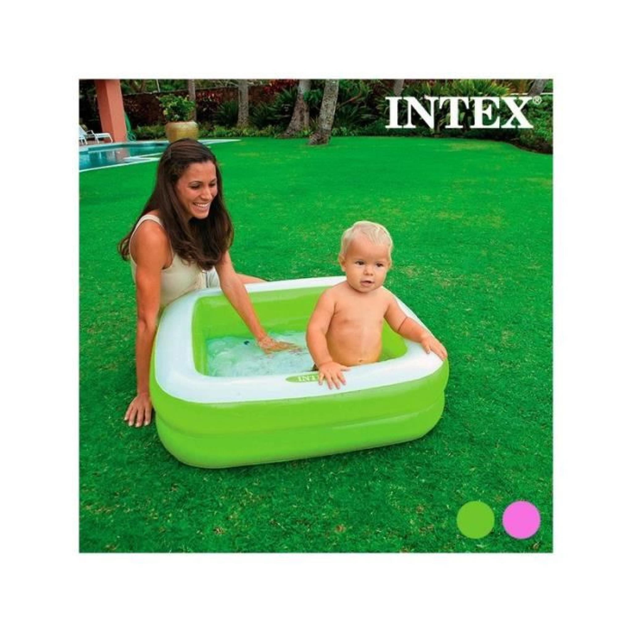 Piscine gonflable carr e pour enfants intex rose for Rustine pour piscine intex