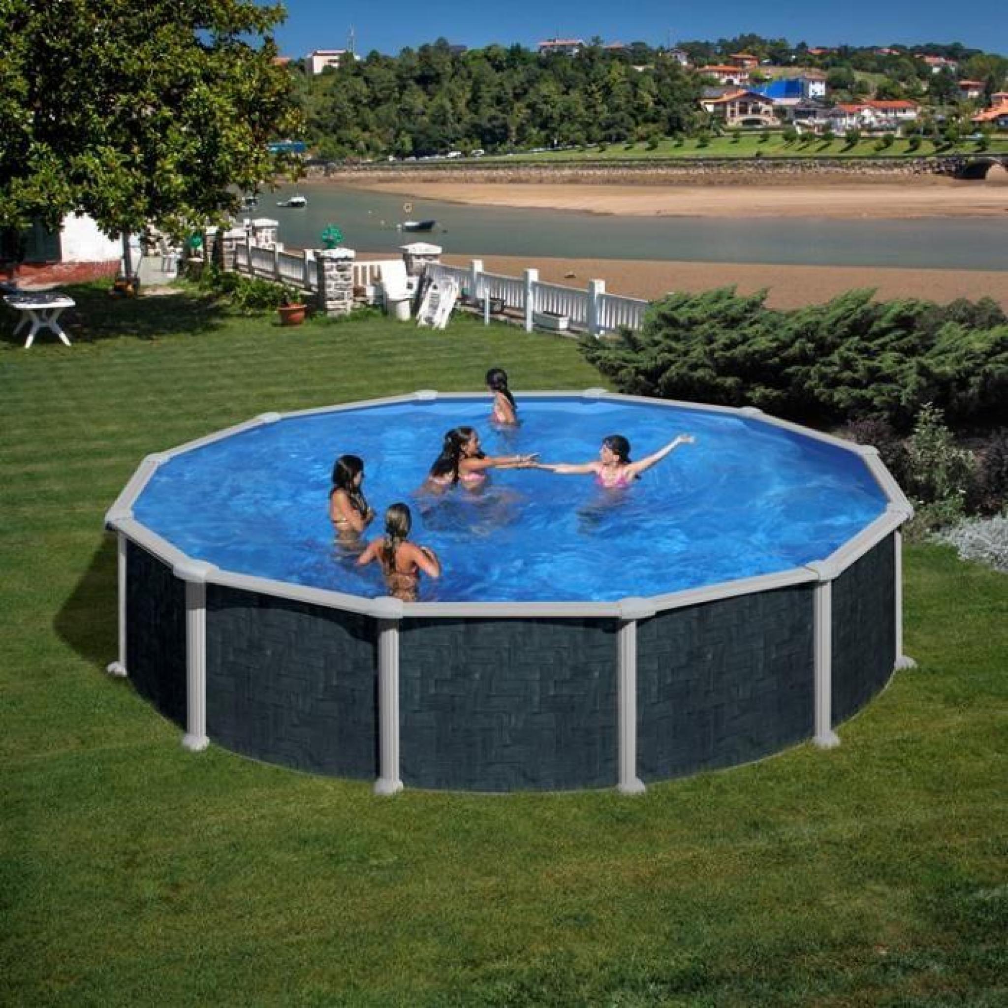 piscine hors sol acier aspect rotin alto ronde diam 4. Black Bedroom Furniture Sets. Home Design Ideas