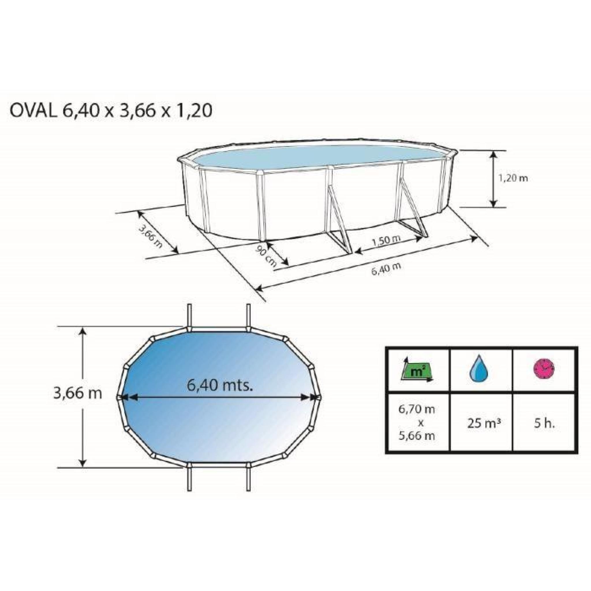 For t piscine en acier ovale 550x366x120 achat vente for Piscine en acier pas cher