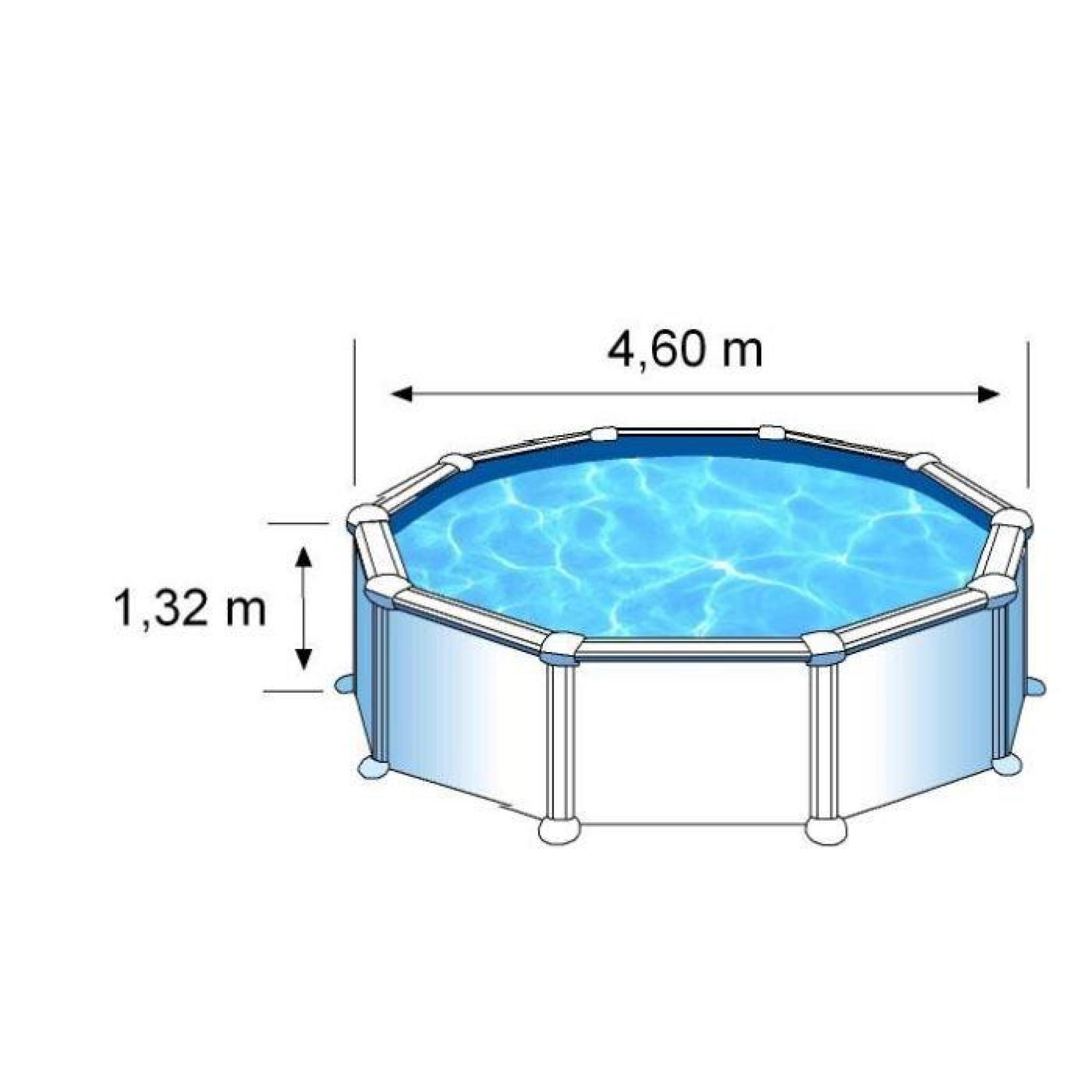 Gre piscine acier ronde 460 cm h 132 cm blanc achat - Piscine hors sol acier pas cher ...