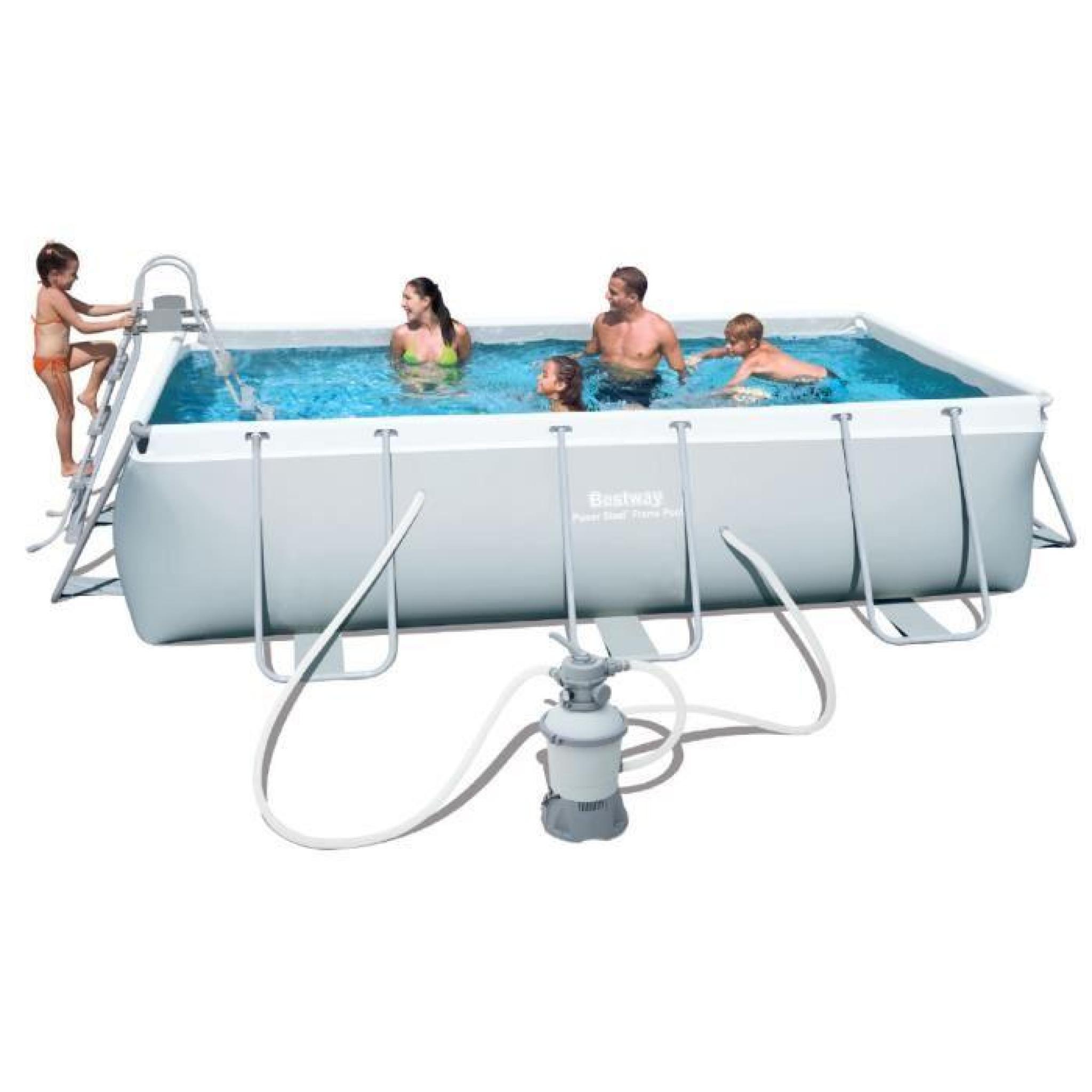 piscine tubulaire rectangulaire bestway filtre sable achat vente piscine hors. Black Bedroom Furniture Sets. Home Design Ideas