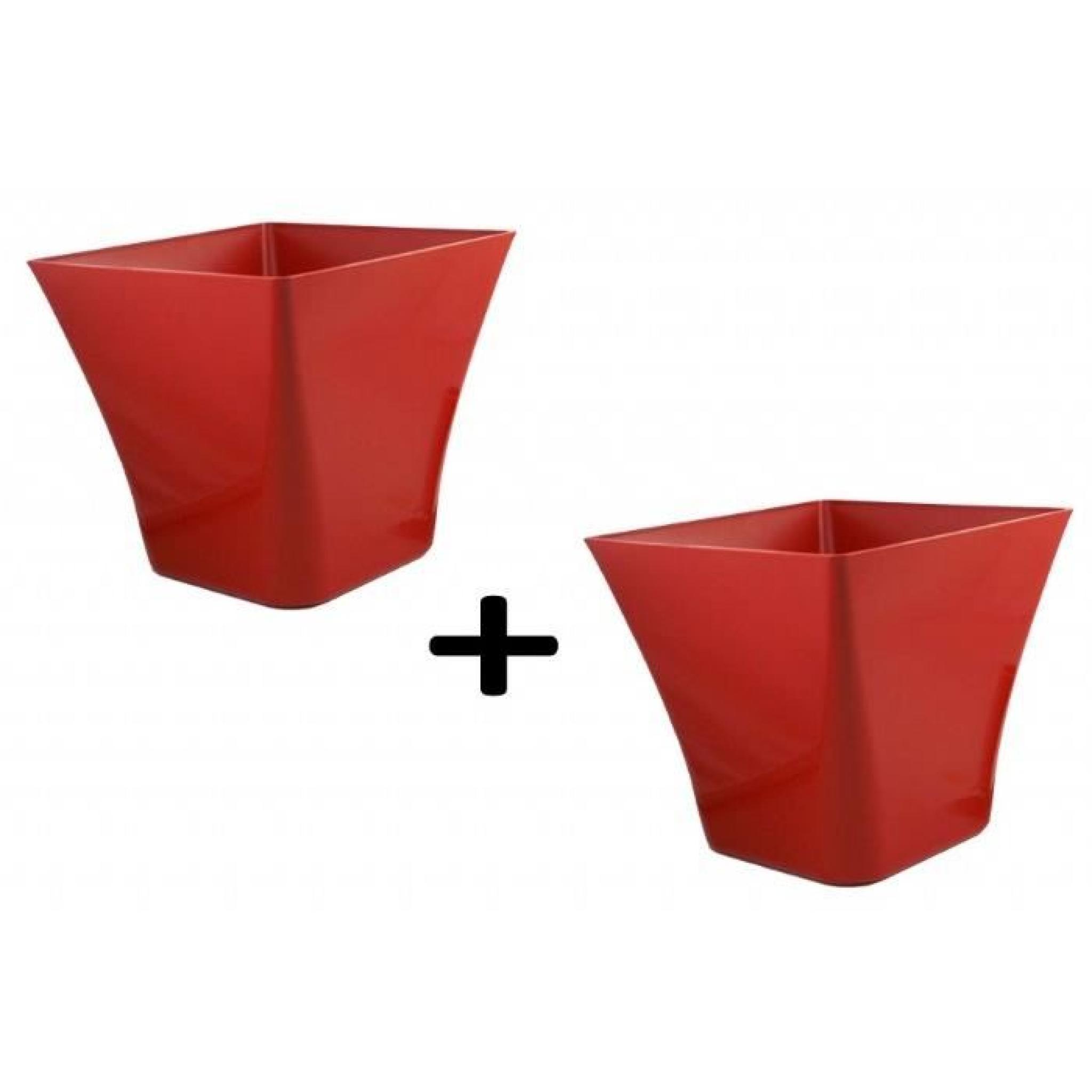 Pot laurea carre 19x19x17 chapelu rouge lot de 2 achat - Pot de fleur carre ...