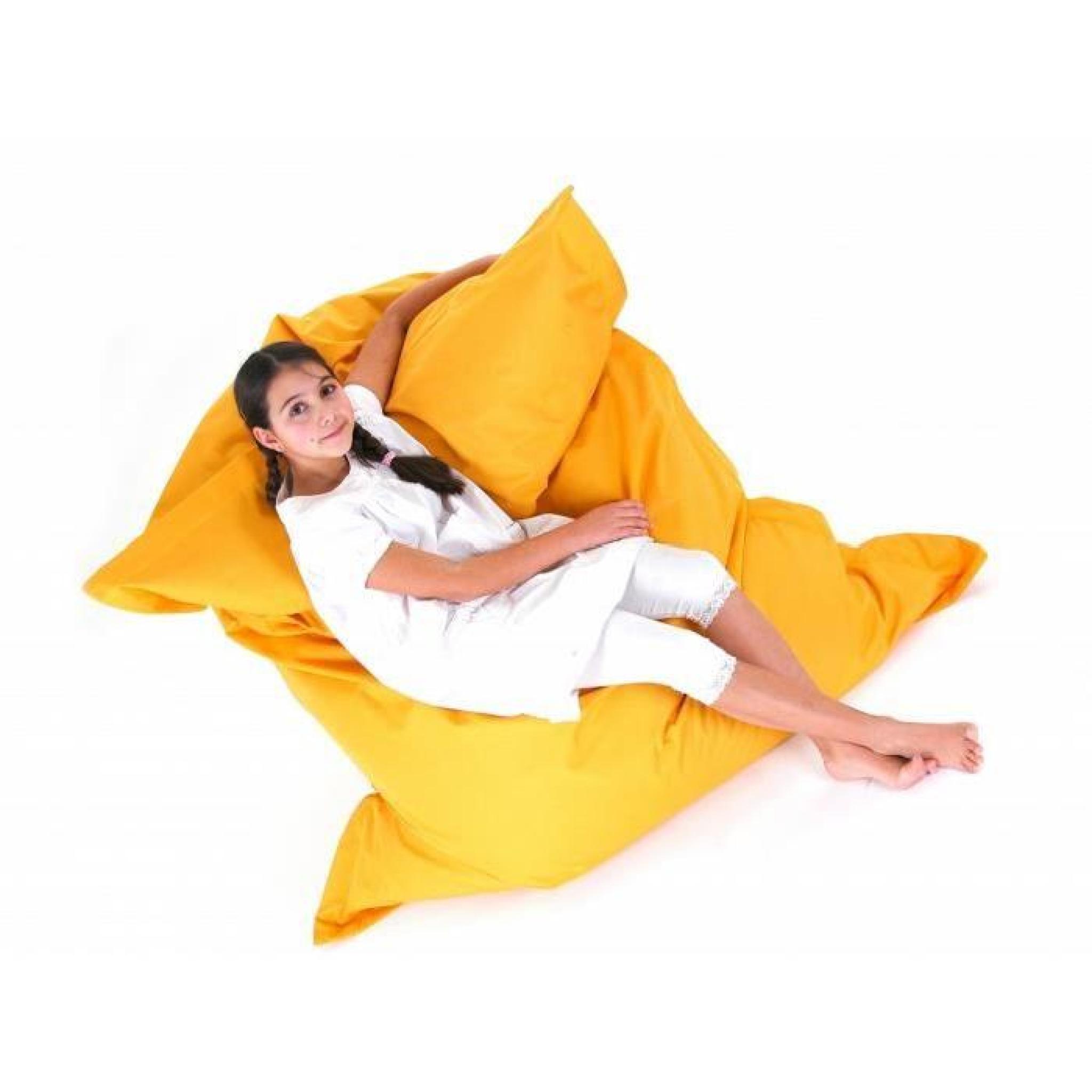 pouf g ant xxl coussin de sol 140x180 cm jaune achat vente pouf exterieur pas cher. Black Bedroom Furniture Sets. Home Design Ideas