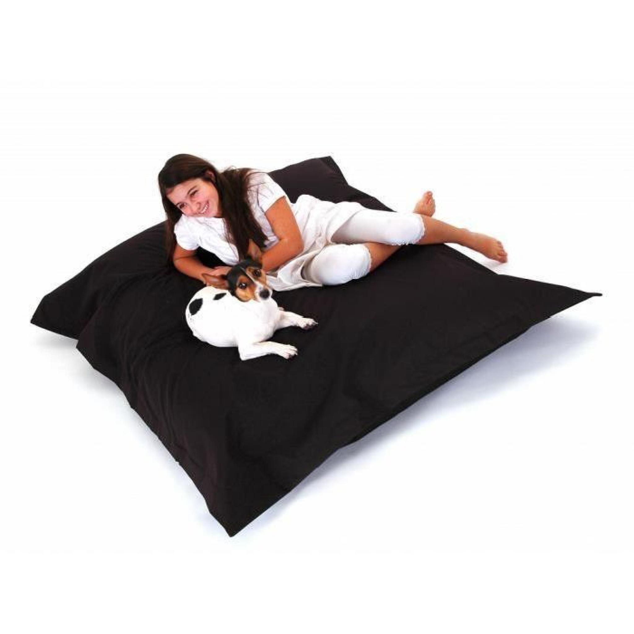 pouf g ant xxl coussin de sol 140x180 cm noir achat vente pouf exterieur pas cher. Black Bedroom Furniture Sets. Home Design Ideas
