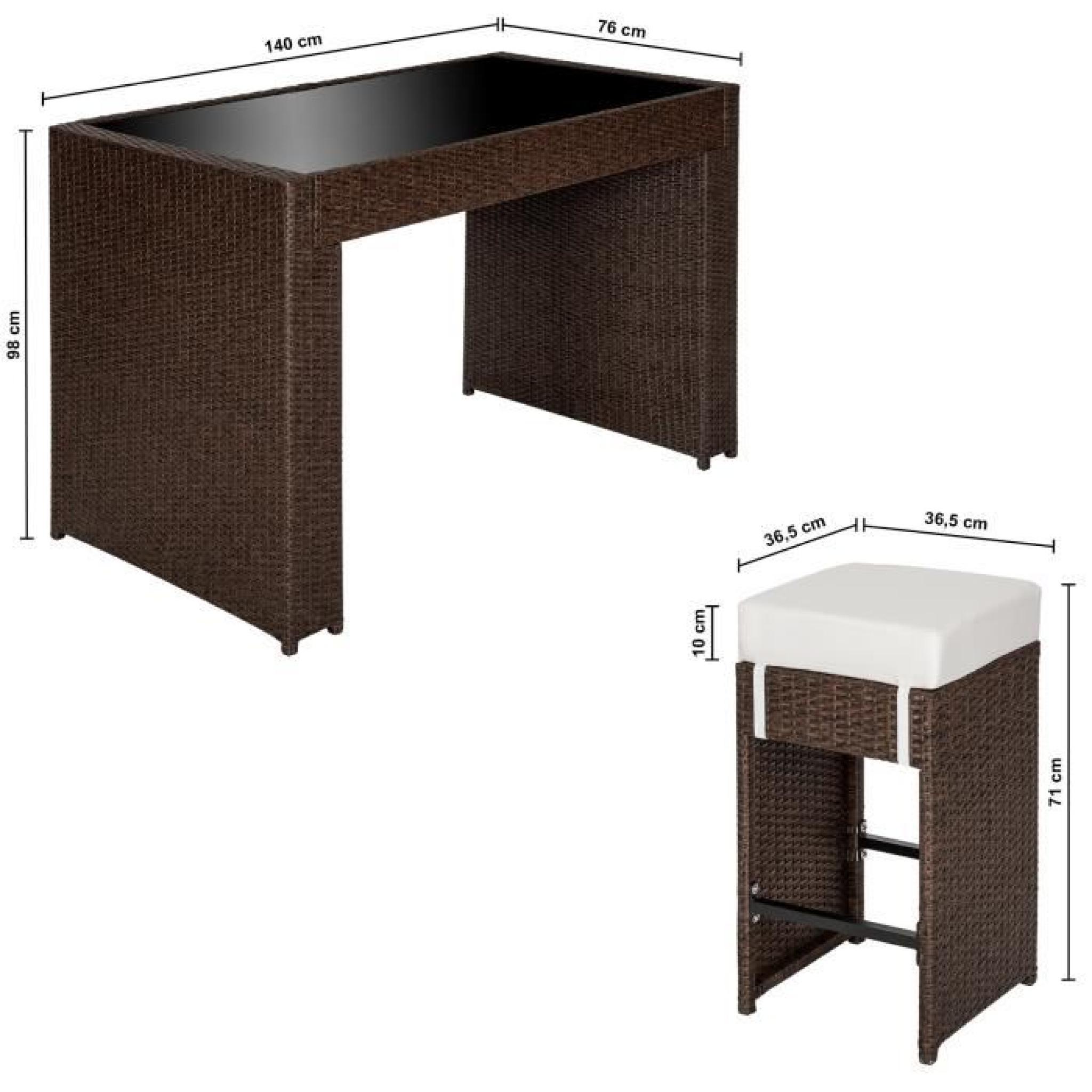 Salon Bar de Jardin Résine Tressée Aluminium 6 Tabourets + 2 Sets de  housses inclus + Housse de protection Noir / Marron TECTAKE