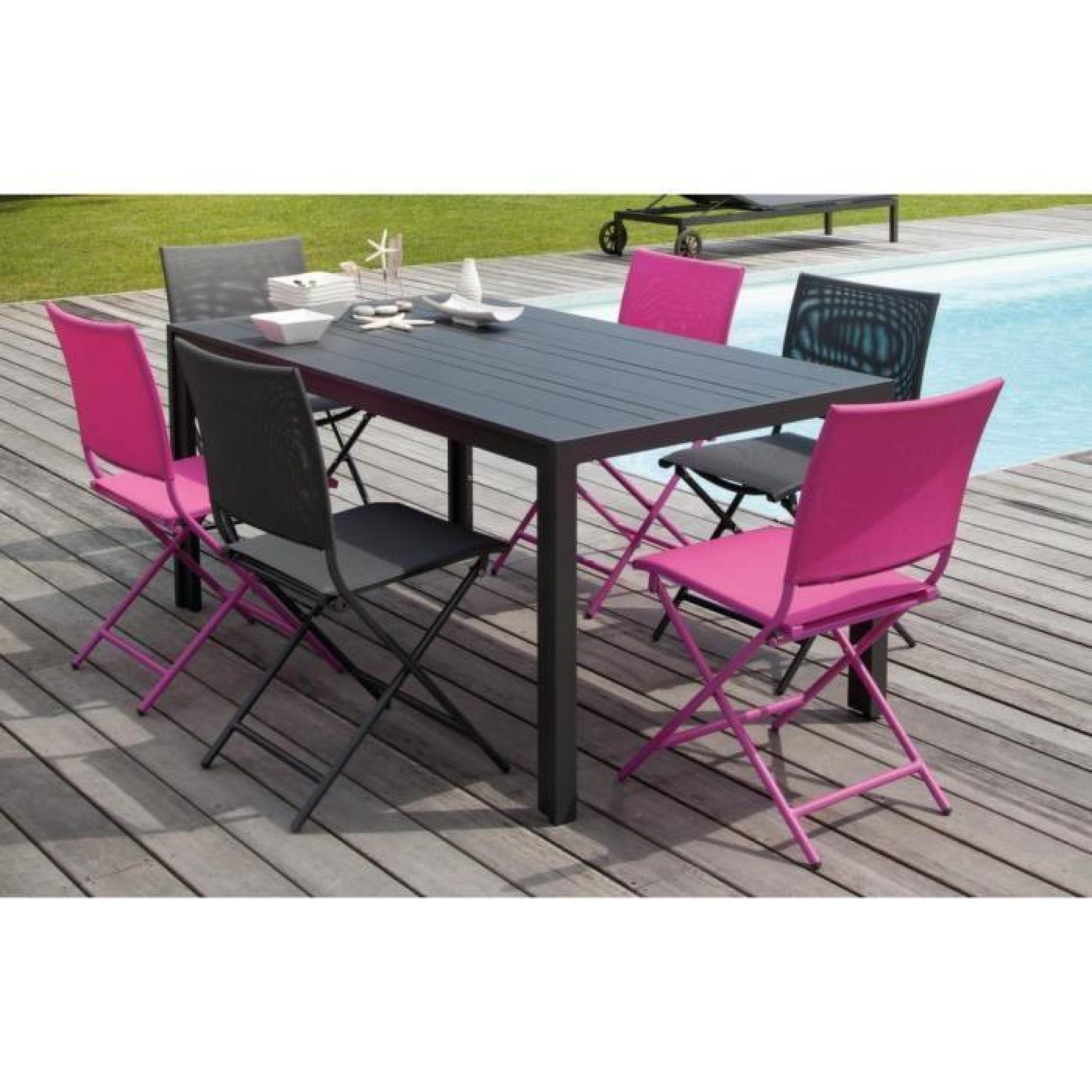 Salon cara bes 1 table 6 chaises pliantes framboise for Table 6 chaises pas cher