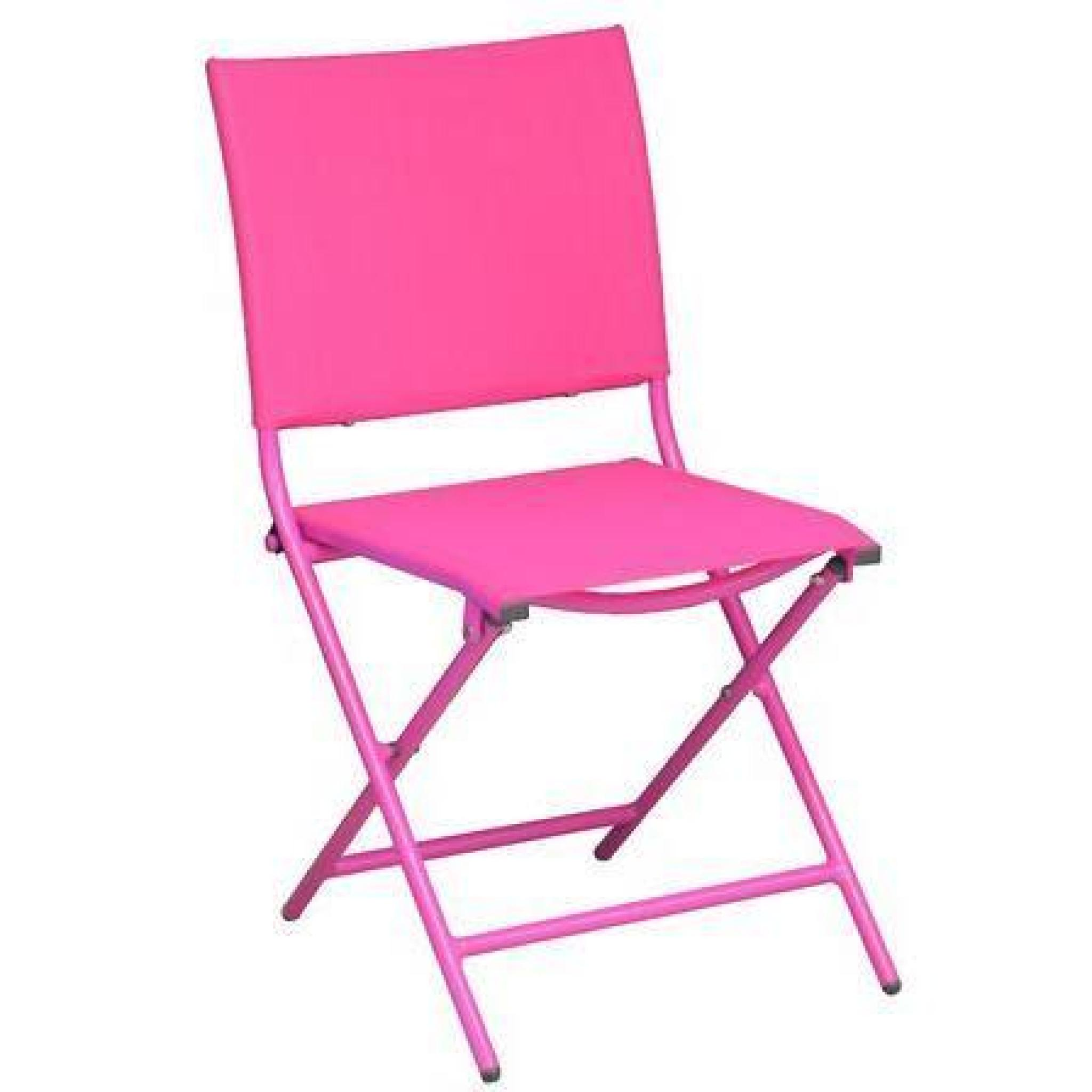 Salon cara bes 1 table 6 chaises pliantes framboise - Table chaise pas cher ...
