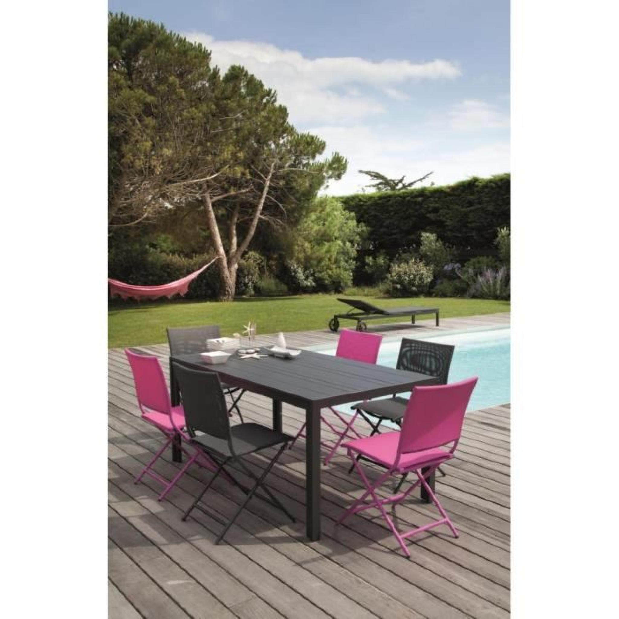 Salon cara bes 1 table 6 chaises pliantes framboise for Table 6 chaises