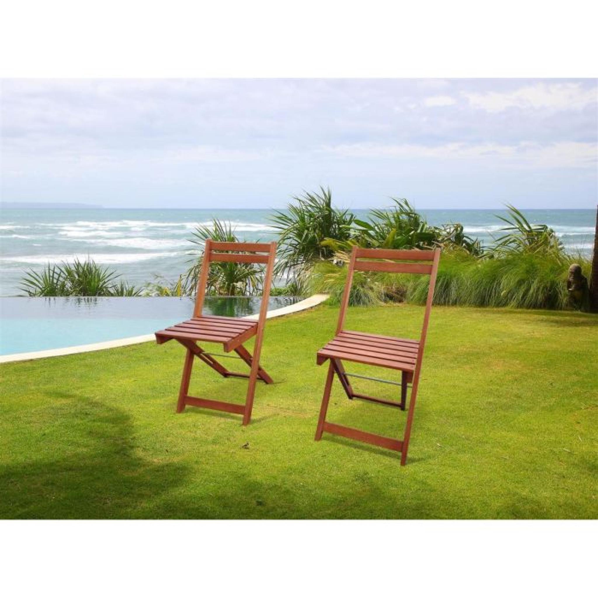 Salon de jardin 1 table 2 chaises eucalyptus FSC - Achat/Vente salon ...