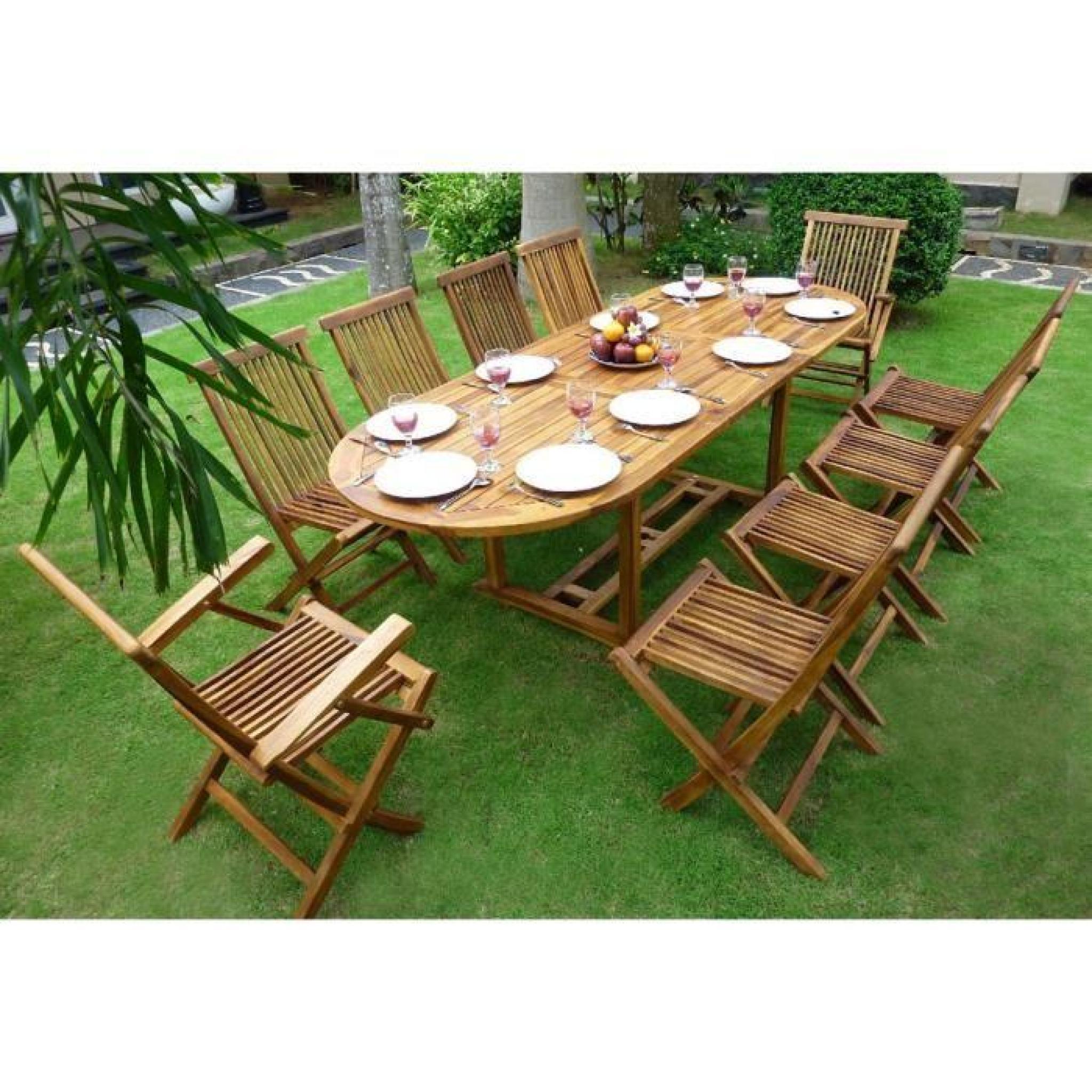 Salon de jardin en teck huilé 10 places - table 180-240 cm