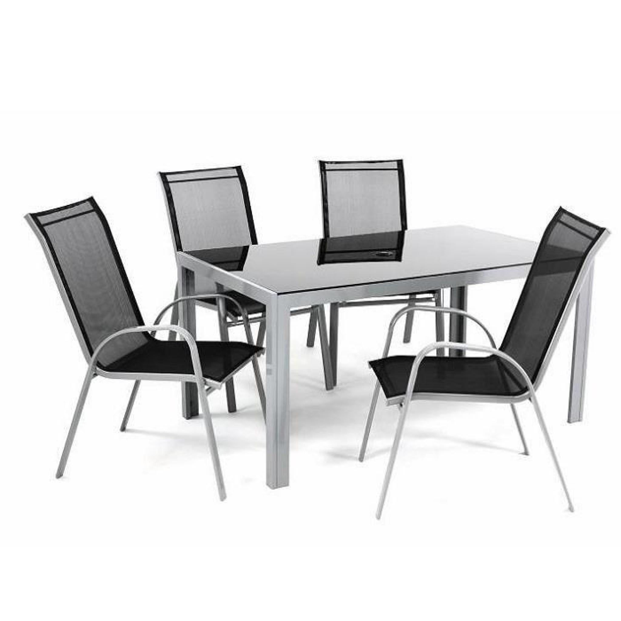 Salon de jardin 4 places en textilène table rectangle alu verre