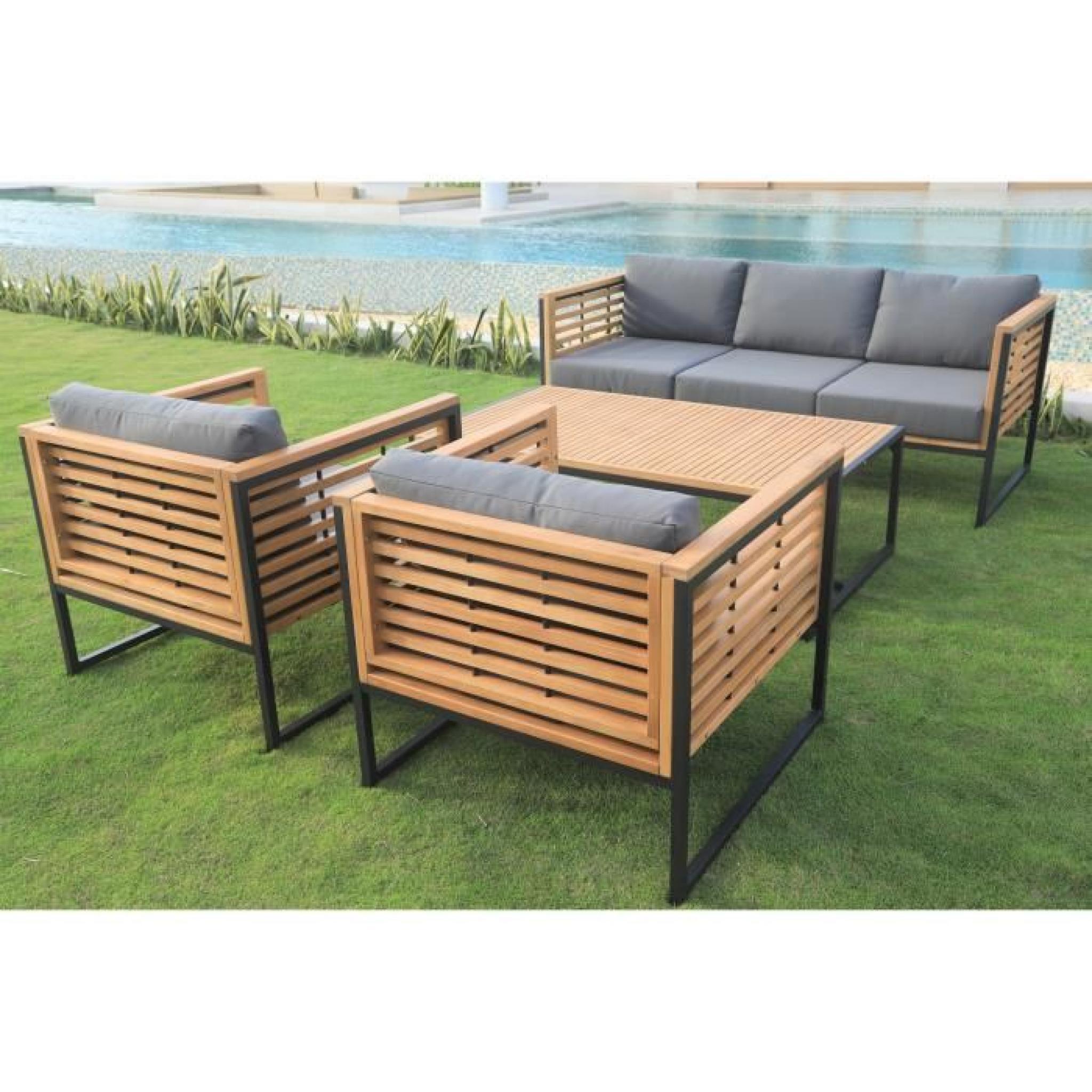 Salon de jardin 5 places en eucalyptus FSC et aluminium - Achat ...