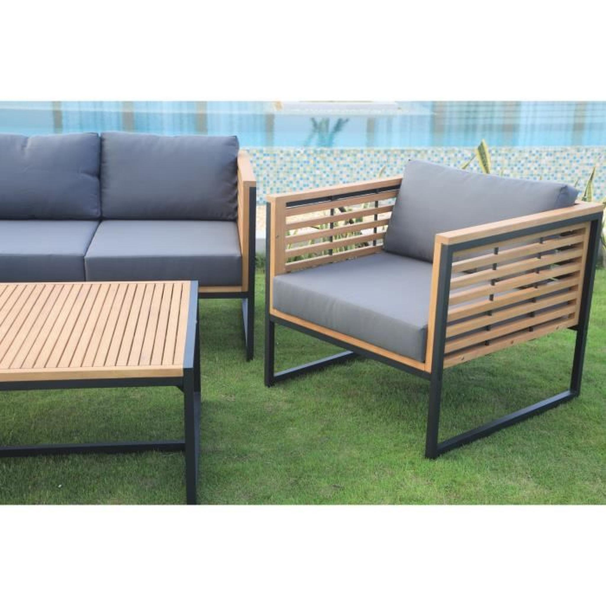 salon de jardin 5 places en eucalyptus fsc et aluminium achat vente salon de jardin en bois. Black Bedroom Furniture Sets. Home Design Ideas