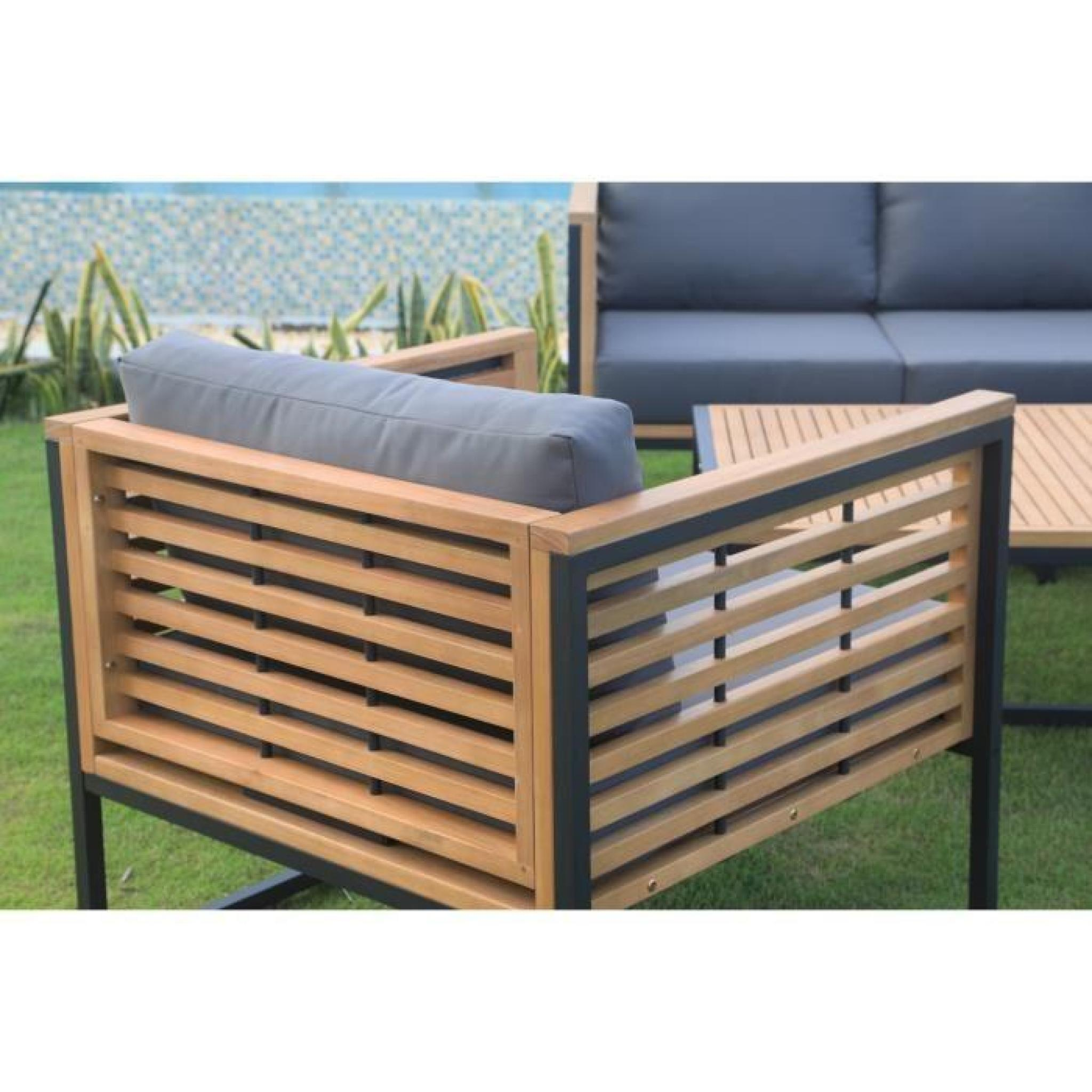 Salon de jardin 5 places en eucalyptus FSC et aluminium