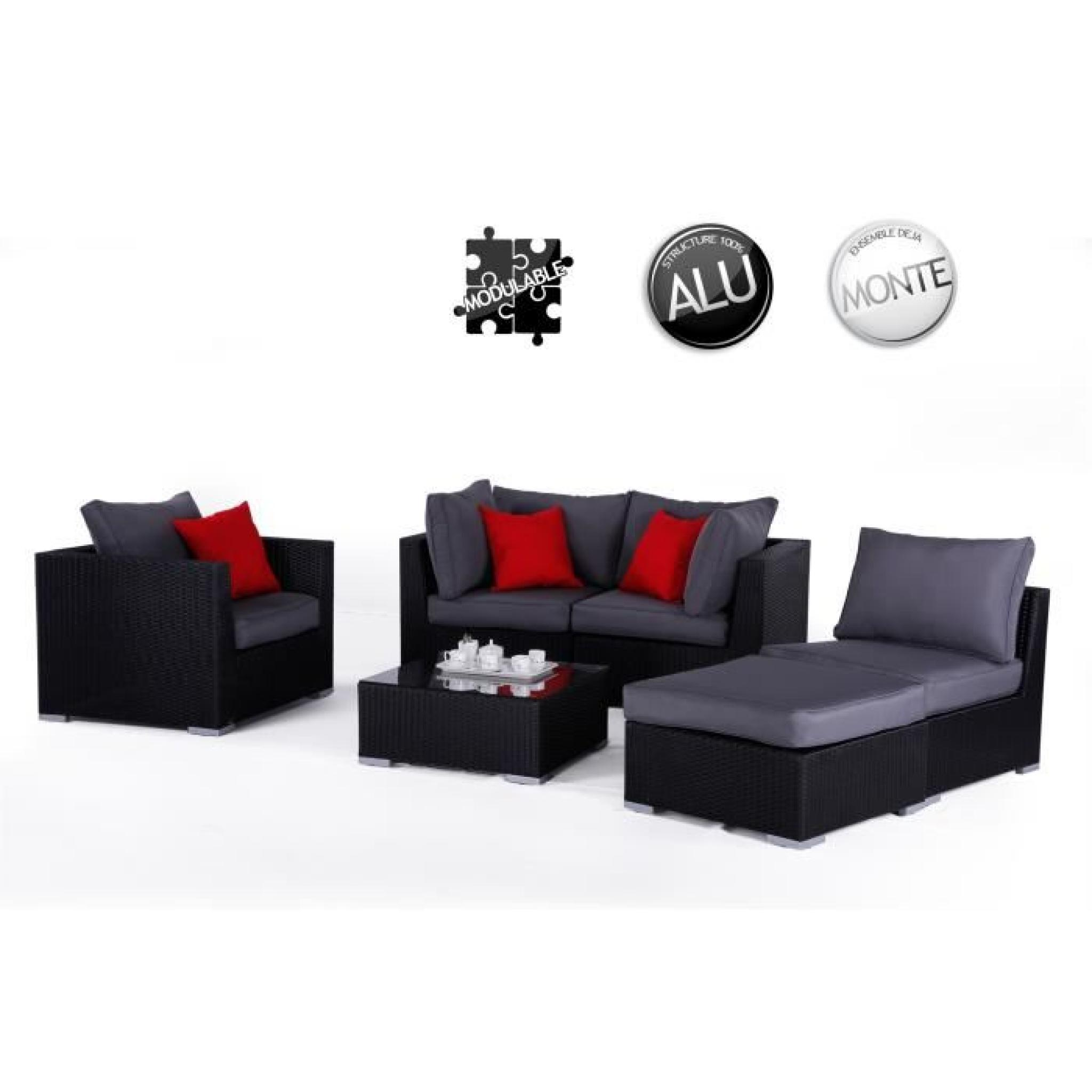 salon de jardin en r sine tress e venise noir achat vente salon de jardin en resine tressee. Black Bedroom Furniture Sets. Home Design Ideas