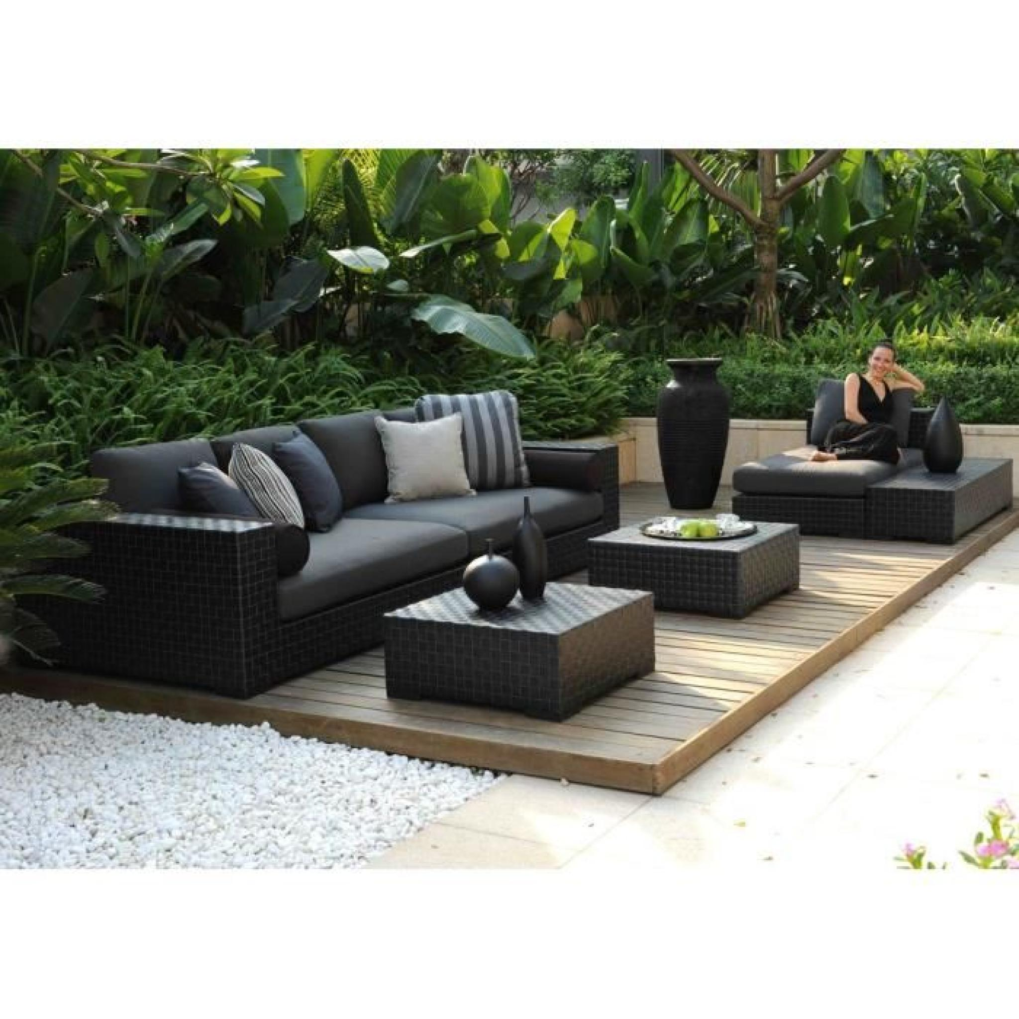 salon de jardin 5 places modulable r sine tress e plate. Black Bedroom Furniture Sets. Home Design Ideas