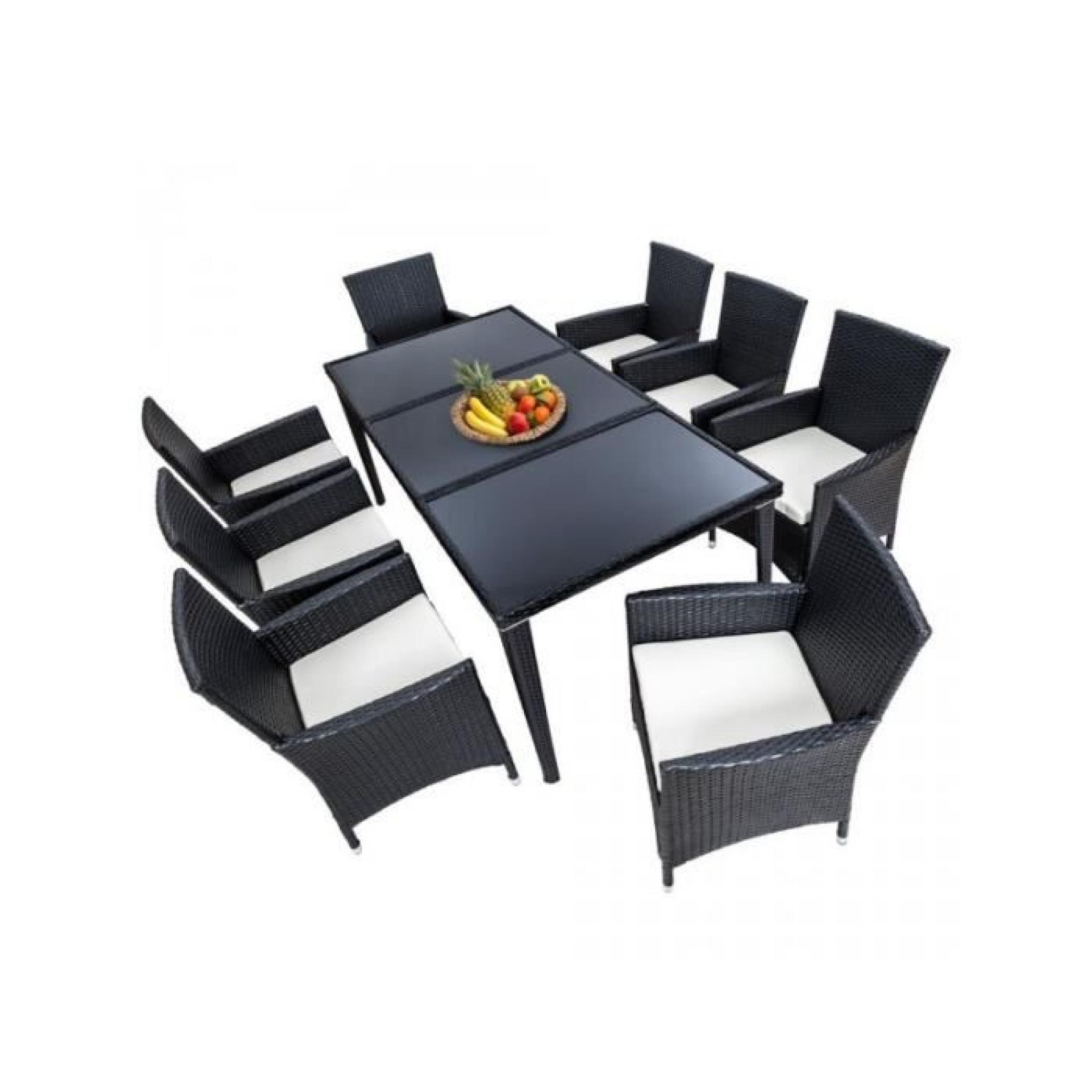Salon de jardin 8 chaises rotin résine tressé synthétique noir + coussins +  housses 2108005