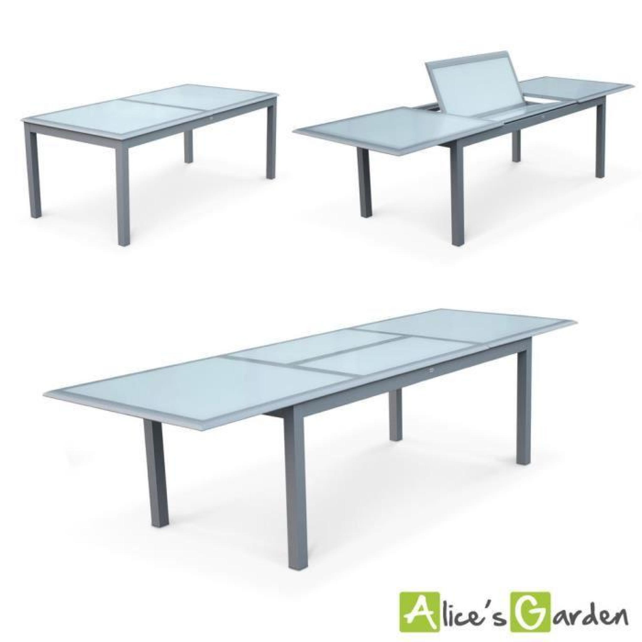 Salon de jardin 8 fauteuils table à rallonge extensible 200-300cm alu  textilène gris clair