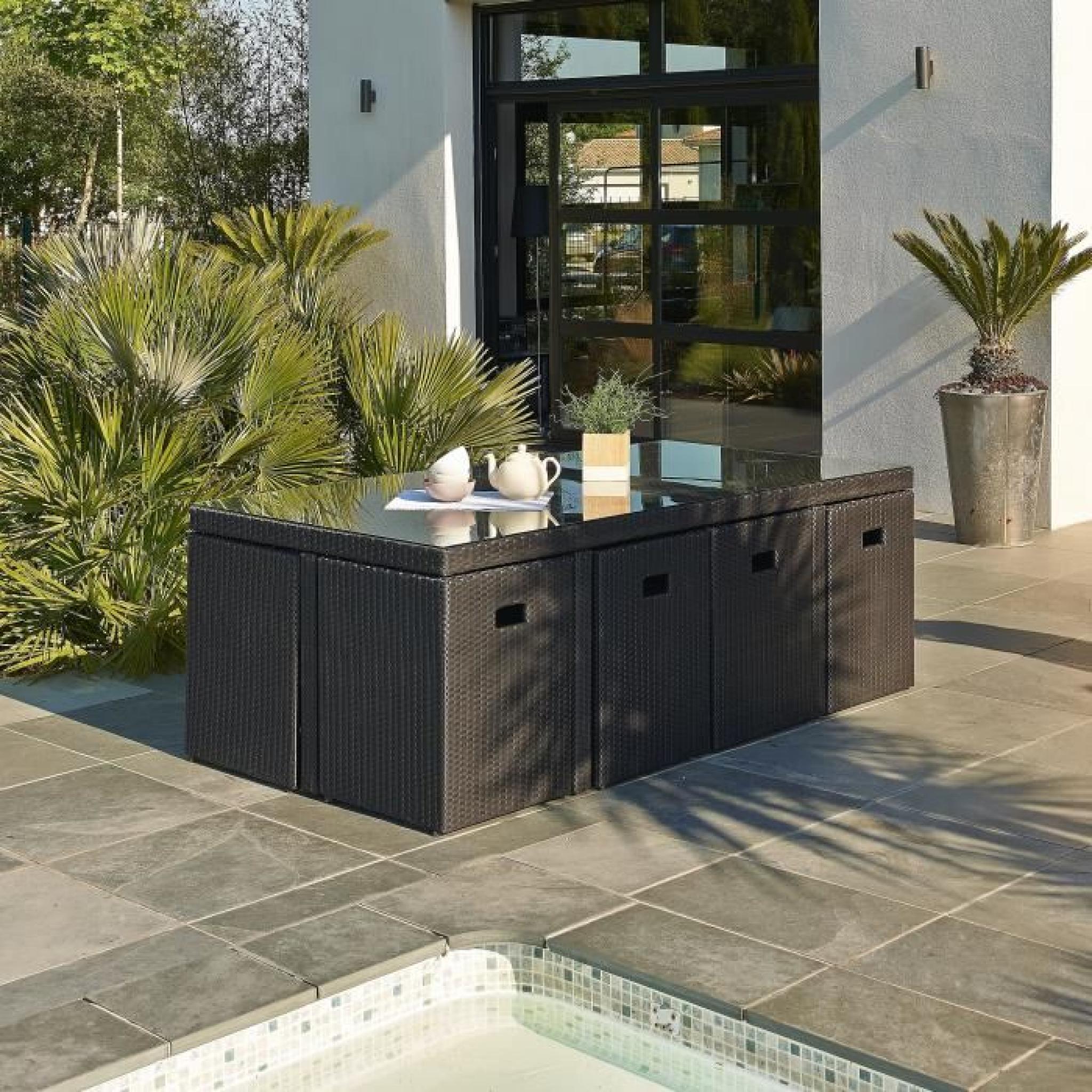 DCB GARDEN Salon de jardin encastrable 1 table et 8 fauteuils en ...