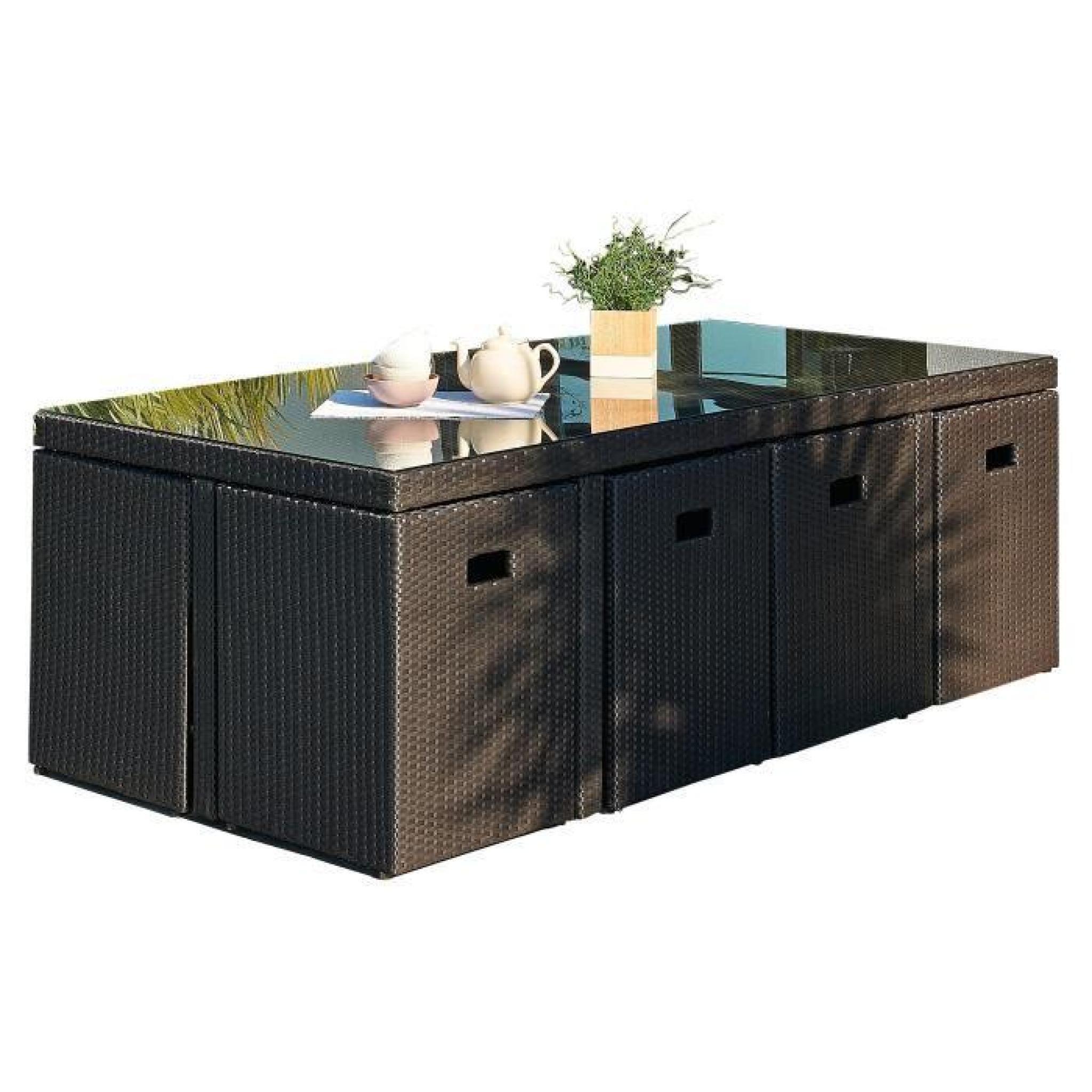 DCB GARDEN Salon de jardin encastrable 1 table et 8 fauteuils en résine  tressée - Plateau verre - Noir