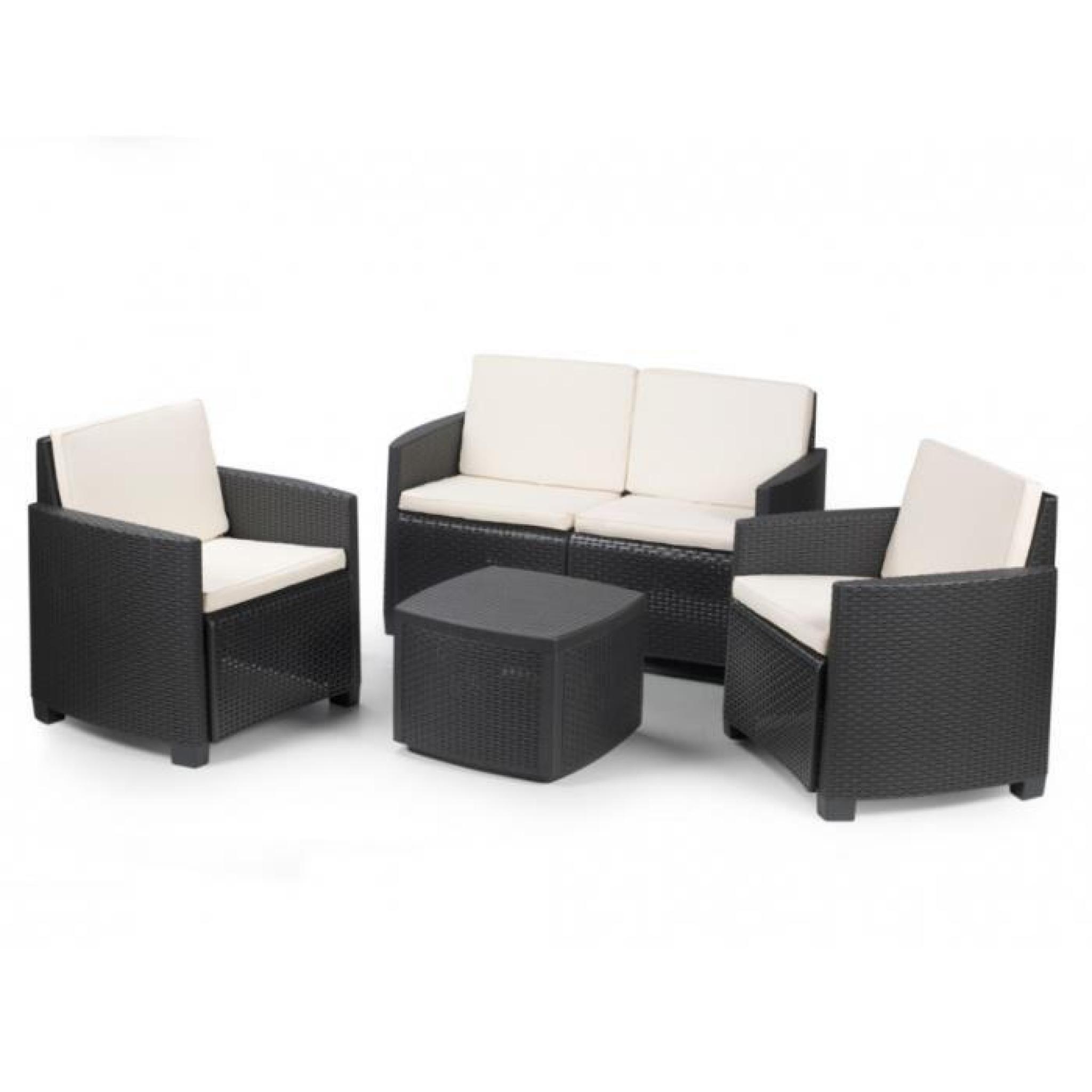 salon de jardin alisea en r sine moul e anthracite un canap 2 places 2 fauteuils et une. Black Bedroom Furniture Sets. Home Design Ideas