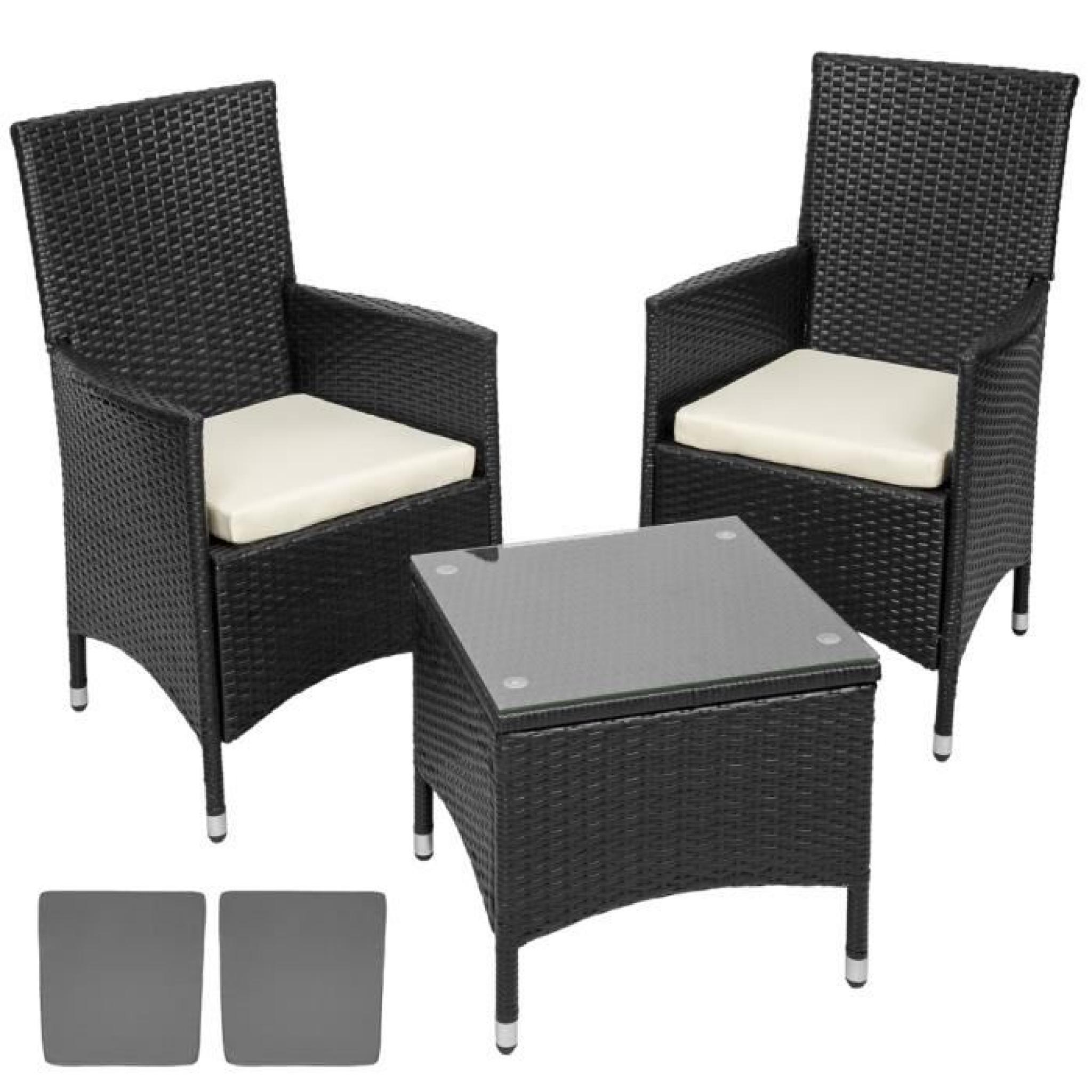 Salon de jardin Ambre - 2 Chaises Fauteuils et 1 Table en Résine Tressée  POLY ROTIN structure Aluminium Marron Noir TECTAKE
