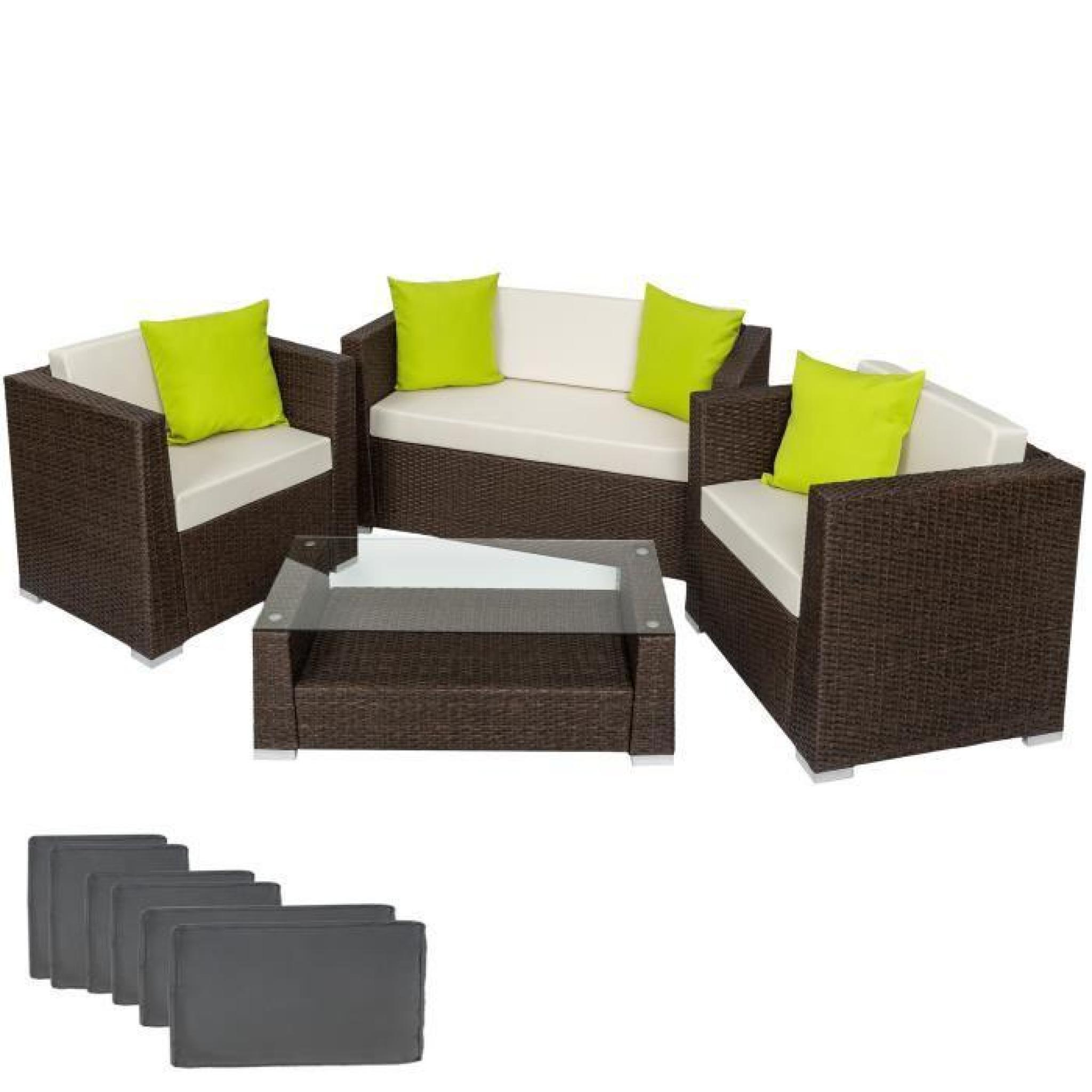 Salon de jardin ANTIQUE - 2 Chaises Fauteuils, 1 Canapé, 1 Table en Résine  Tressée Poly Rotin structure Aluminium Marron TECTAKE