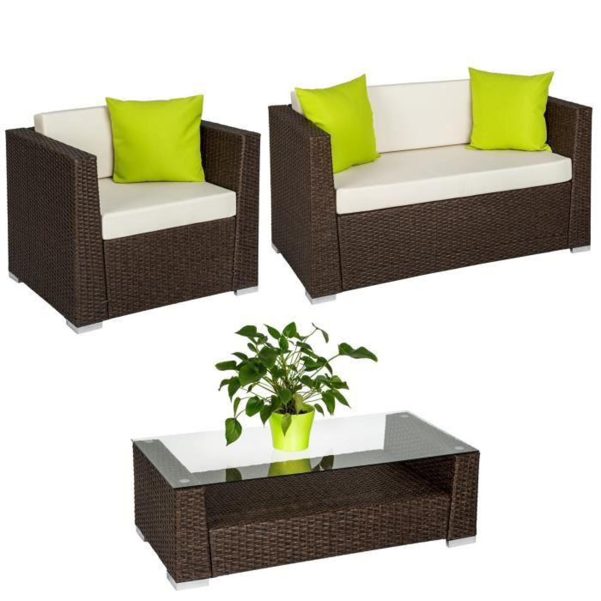 Salon de jardin ANTIQUE - 2 Chaises Fauteuils, 1 Canapé, 1 Table en ...