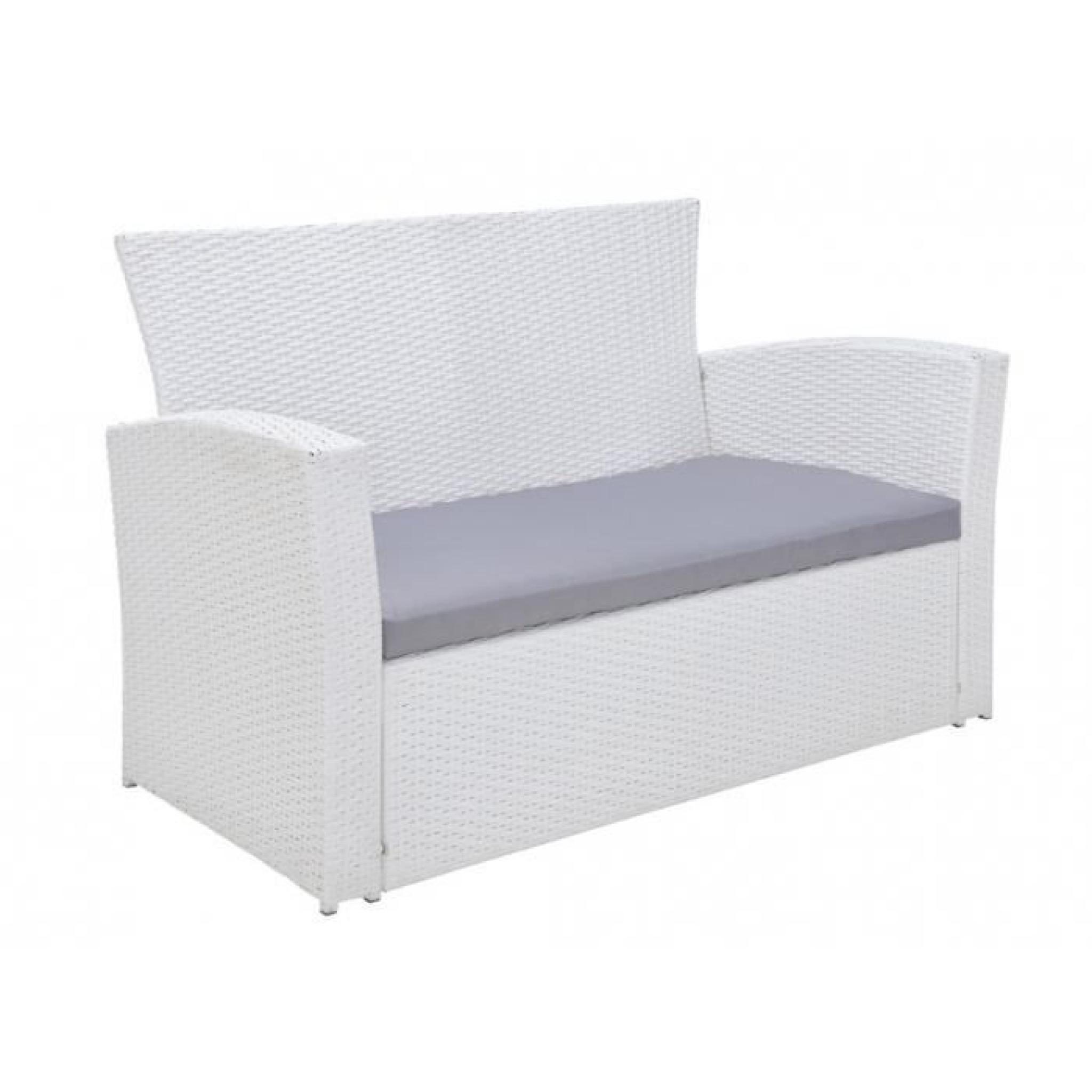 Salon de jardin AREQUIPA en resine tressée blanche : un canapé 2 places, 2  fauteuils et une table basse - assise grise