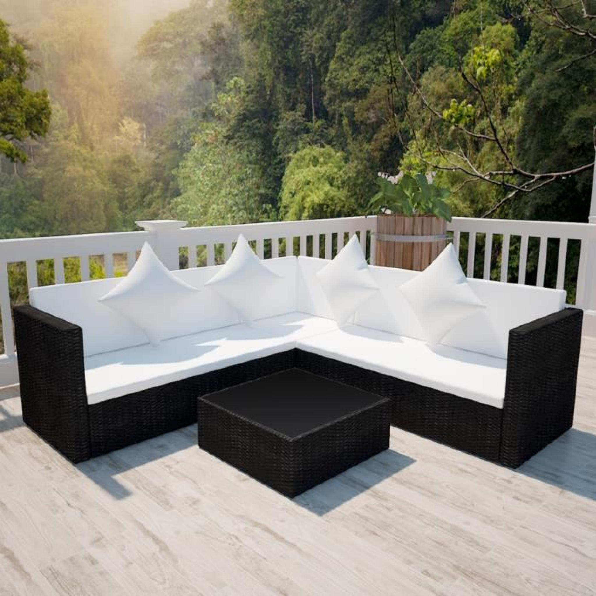 salon de jardin avec canap 2 places en polyrotin noir achat vente ensemble de jardin pas cher. Black Bedroom Furniture Sets. Home Design Ideas