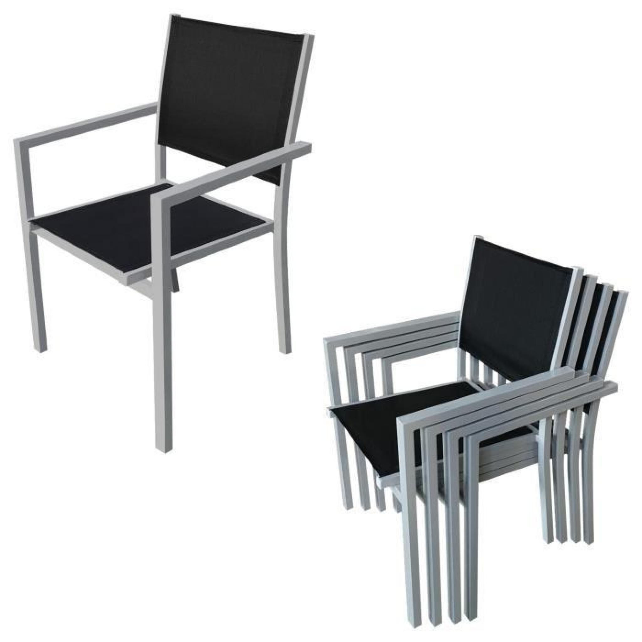 Salon de jardin BARI en textilène noir 8 places - aluminium gris ...