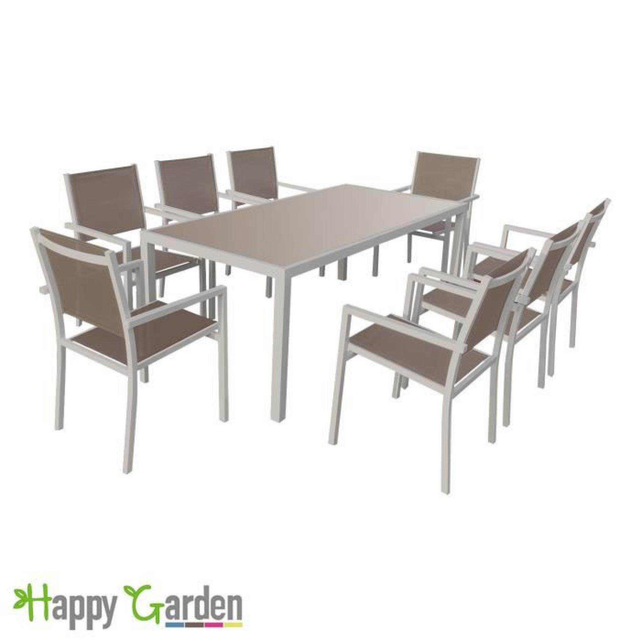 Salon de jardin bari en textil ne taupe 8 places aluminium taupe achat vente salon de jardin for Salon de jardin 8 places