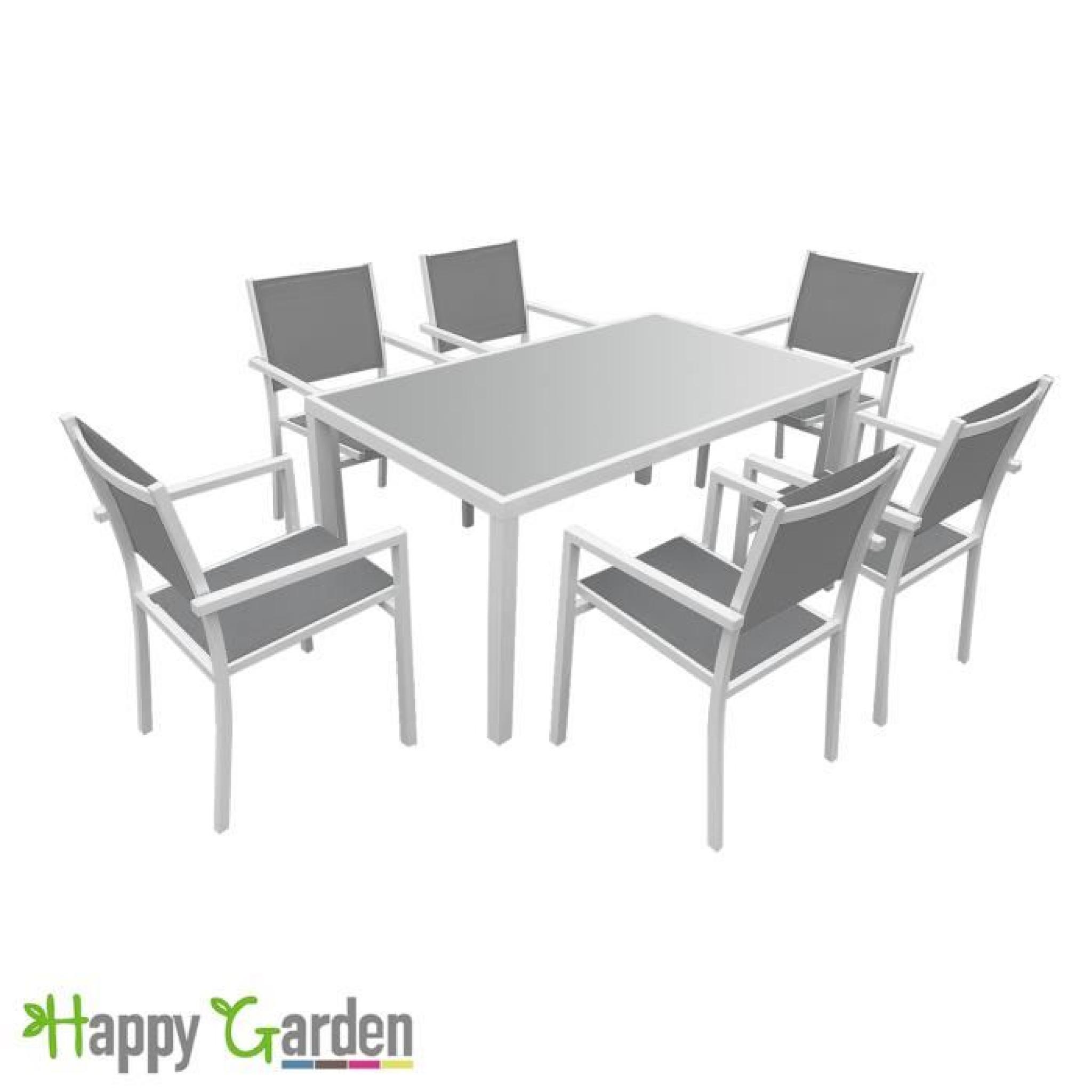 Salon de jardin BERGAMO en textilène gris 6 places - aluminium ...