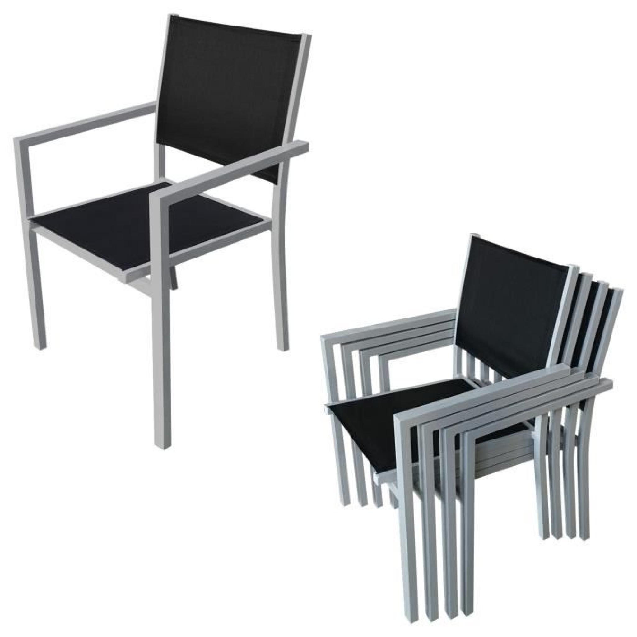 Salon de jardin BERGAMO en textilène noir 6 places - aluminium gris ...