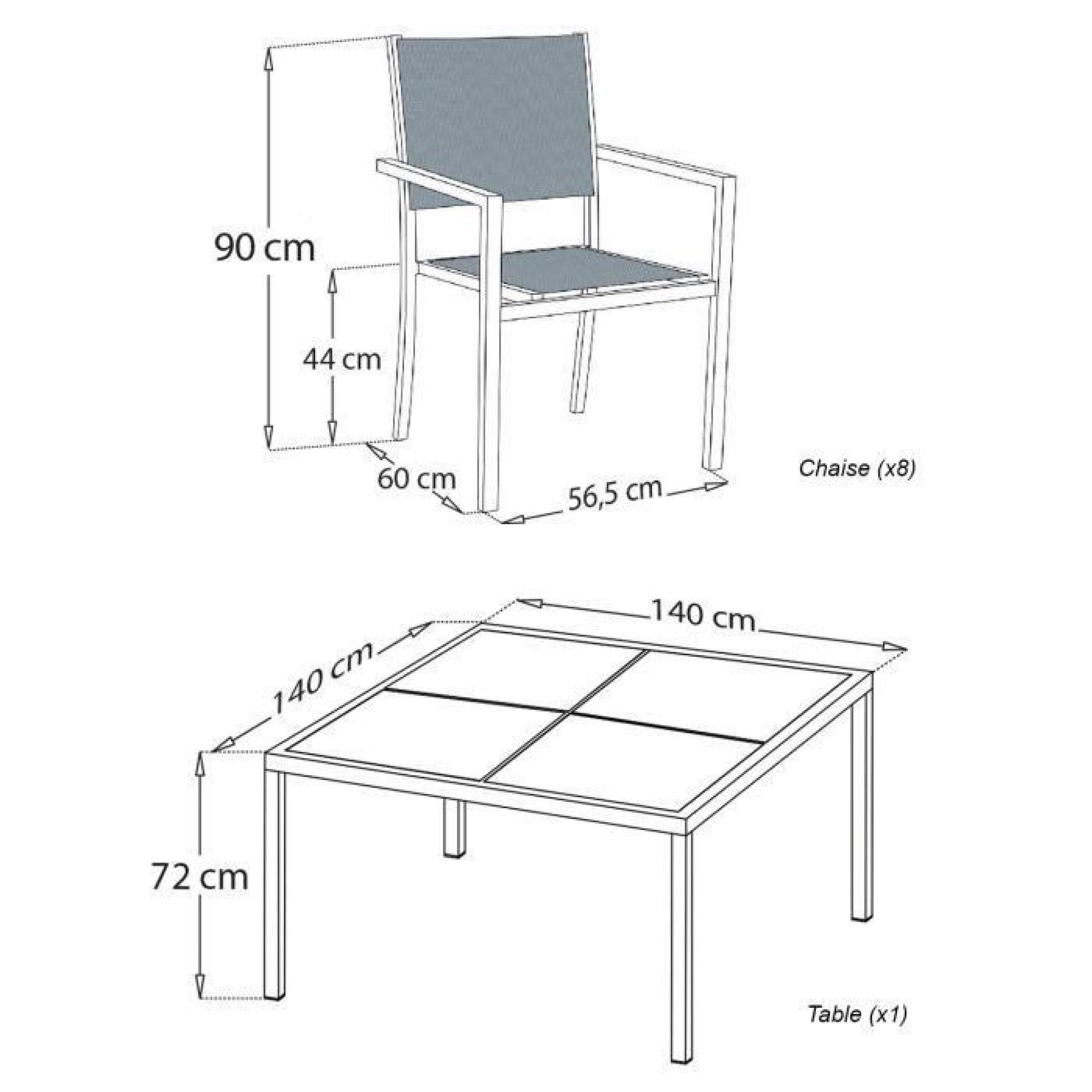 salon de jardin cagliari en textil ne gris 8 places aluminium anthracite achat vente salon. Black Bedroom Furniture Sets. Home Design Ideas