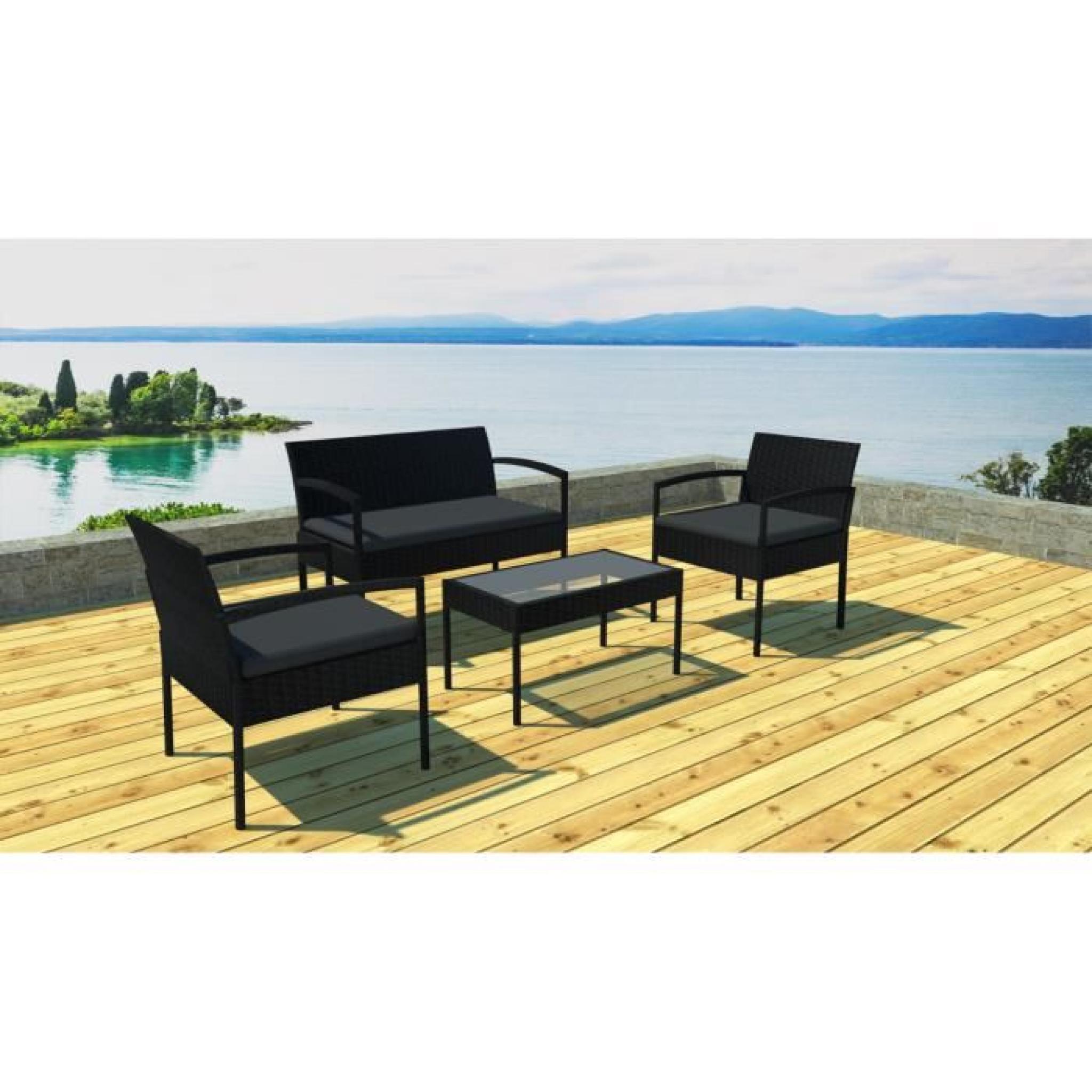 Salon de jardin canapé, fauteuils et table Noir/noir - Achat/Vente ...