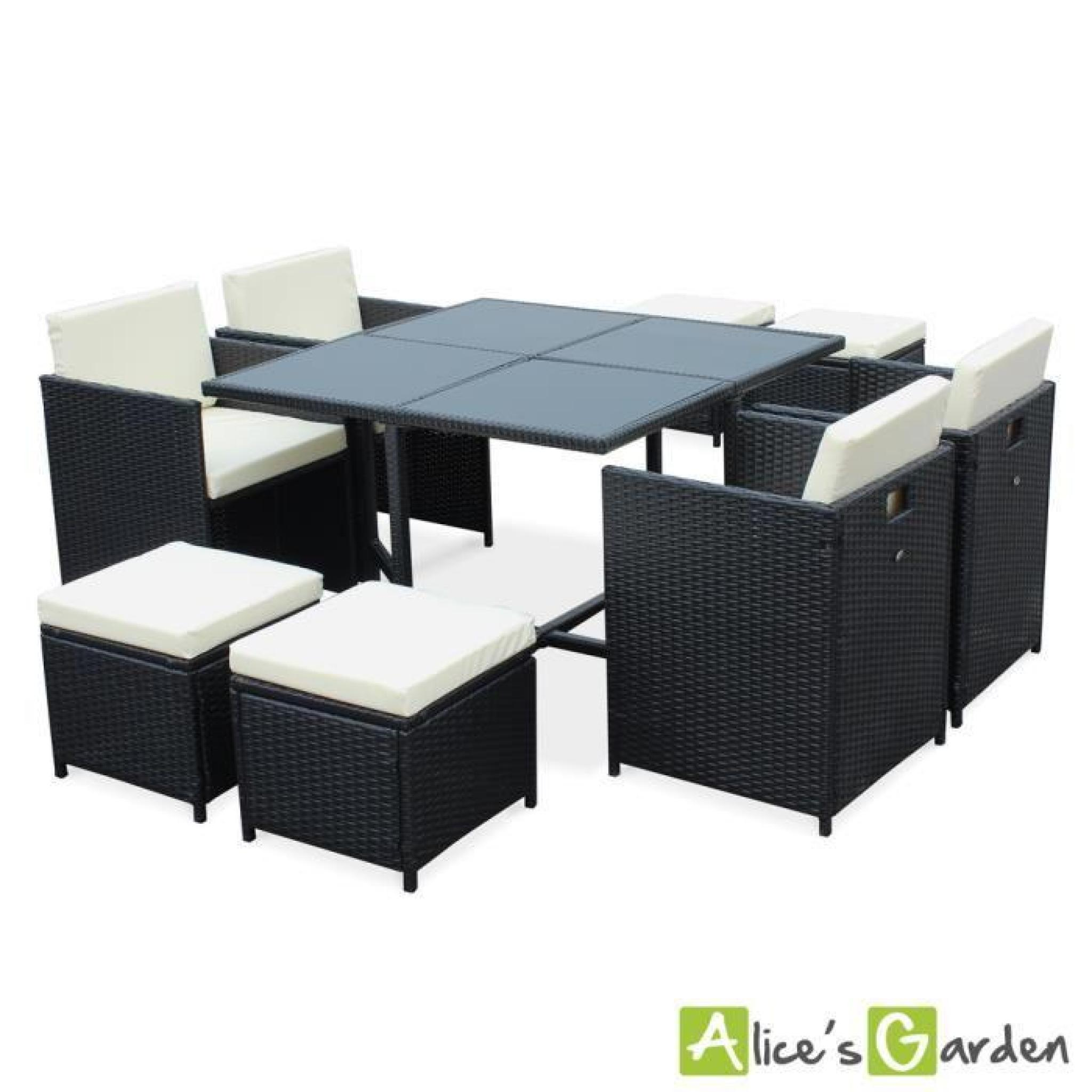 Salon De Jardin Cubo Noir Table En Résine Tressée 6 à 10 Places