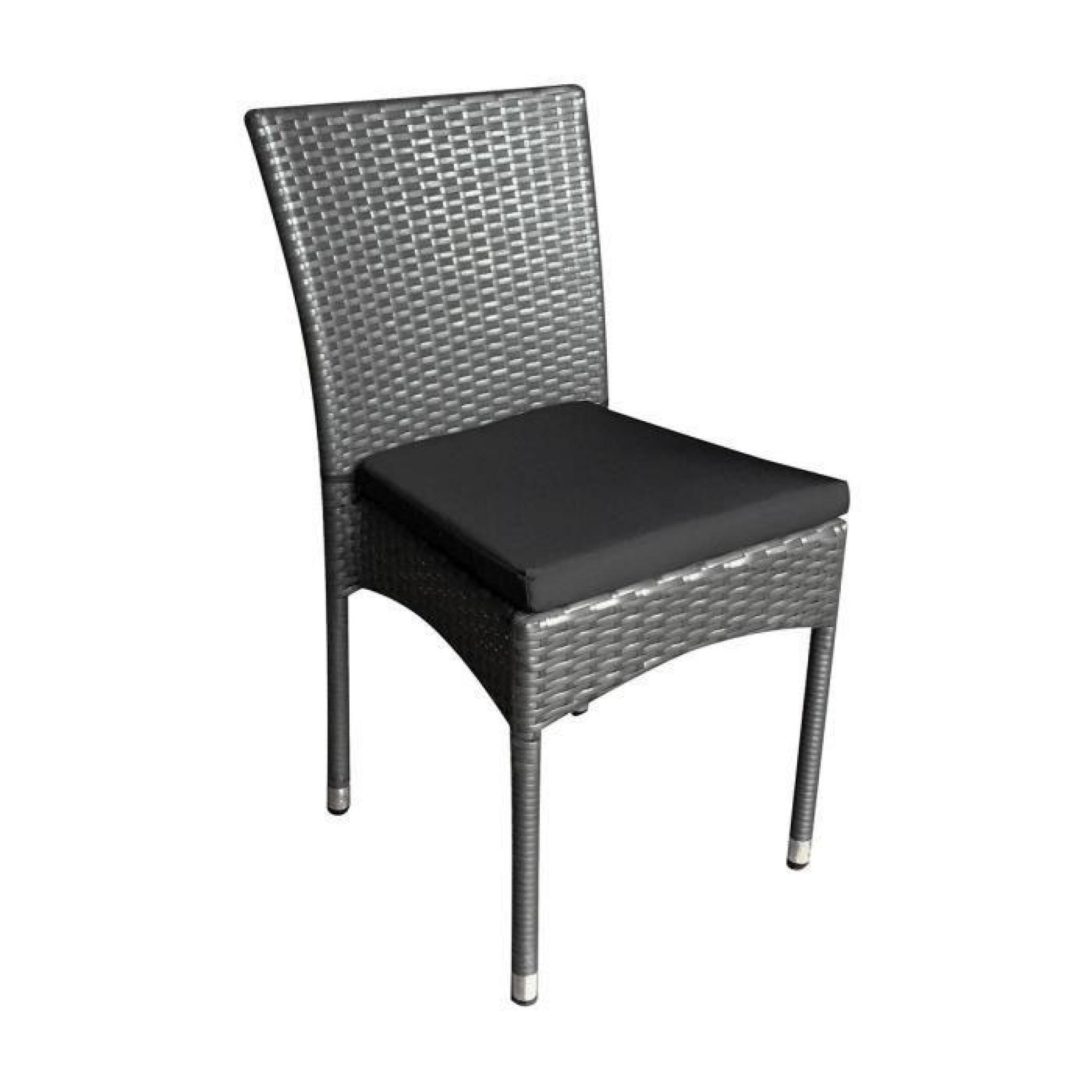 Salon de jardin Doha en résine tressée 8 chaises + coussins noir