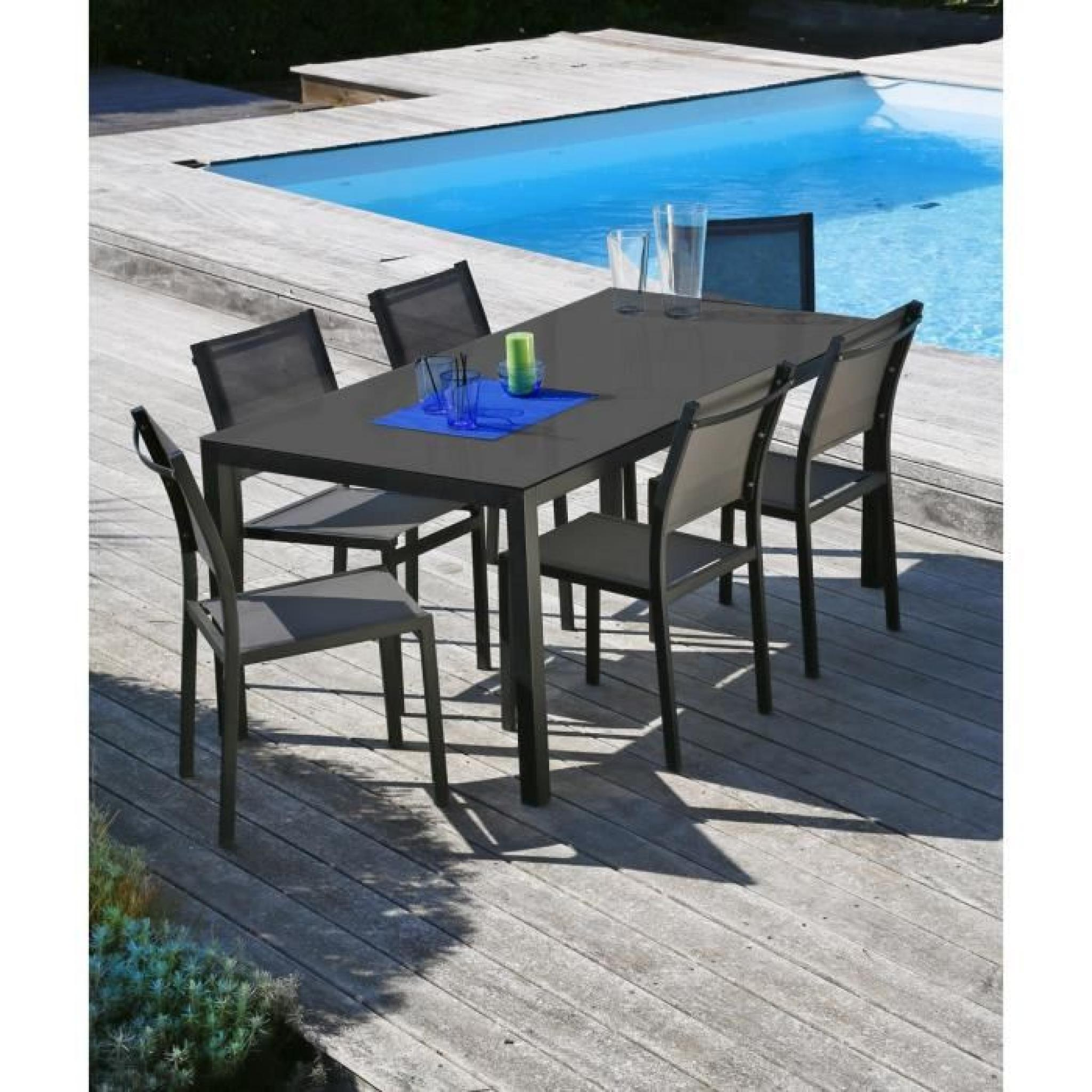 oman salon de jardin en aluminium 6 places noir achat vente salon de jardin en aluminium pas. Black Bedroom Furniture Sets. Home Design Ideas