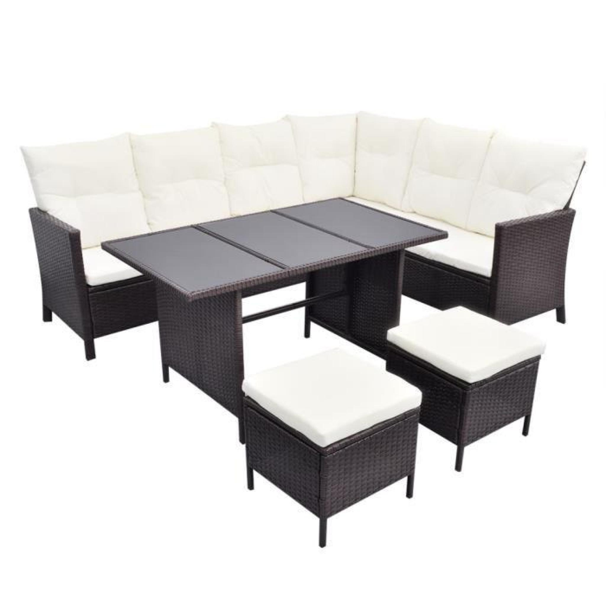 salon de jardin en polyrotin marron 8 personnes achat. Black Bedroom Furniture Sets. Home Design Ideas