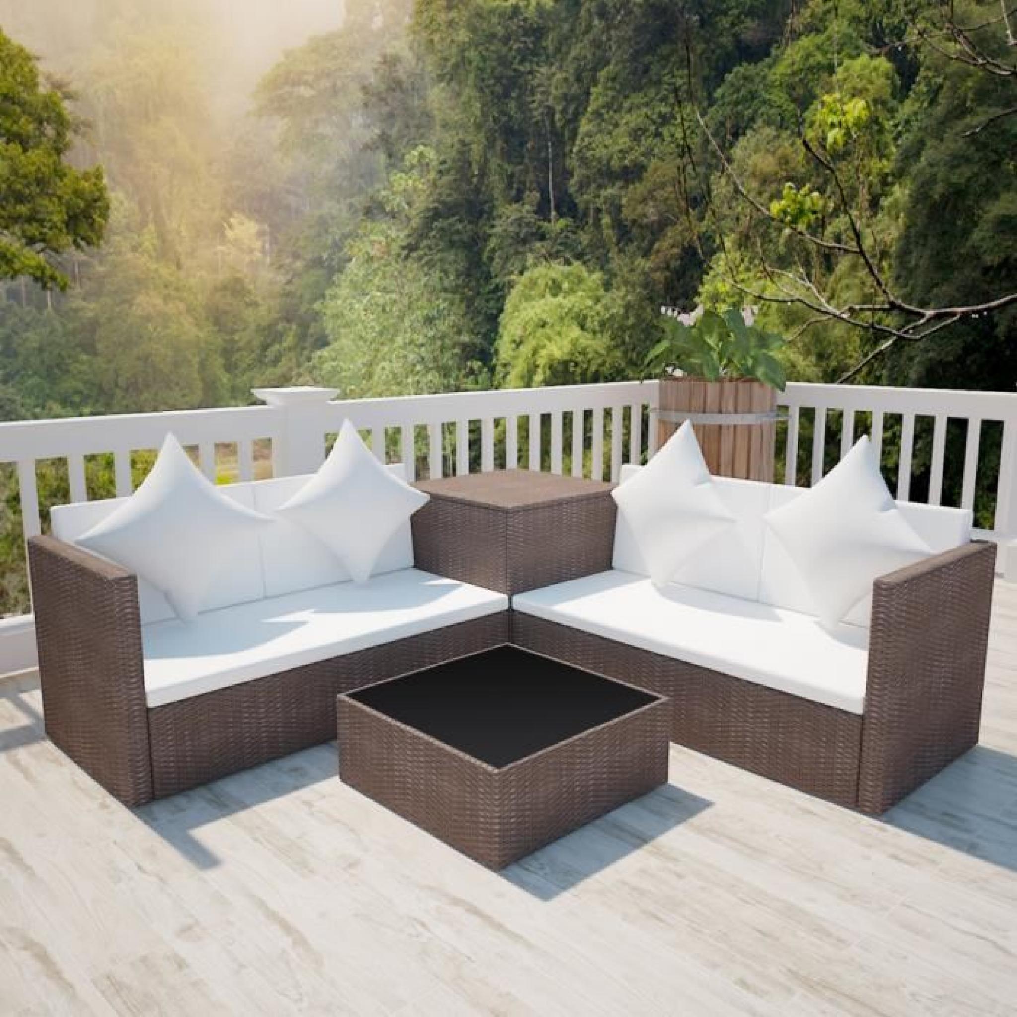 Salon de jardin en polyrotin marron avec coffre de rangement - Achat ...