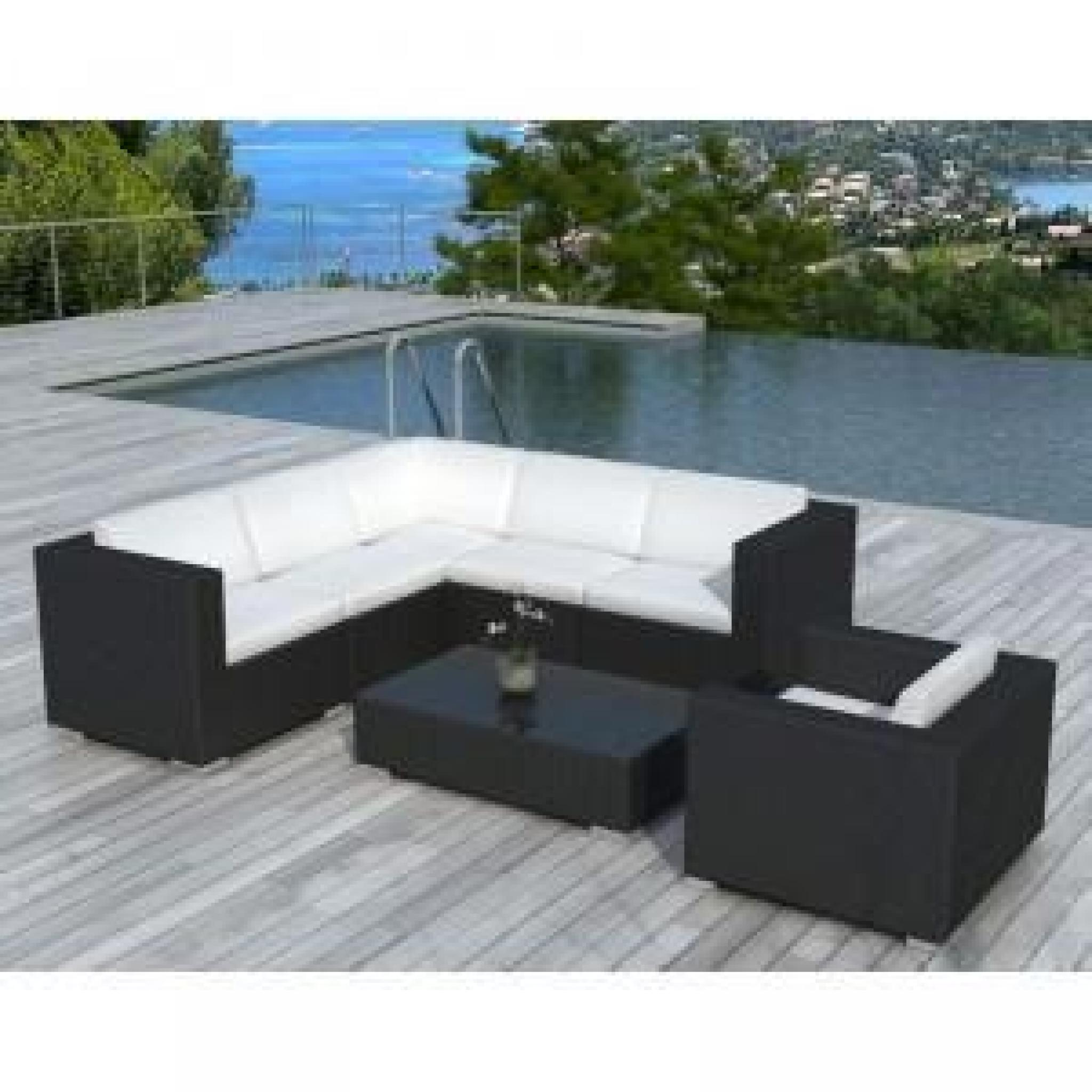 paris prix salon de jardin en r sine tress e d 39 angle noir achat vente salon de jardin en. Black Bedroom Furniture Sets. Home Design Ideas