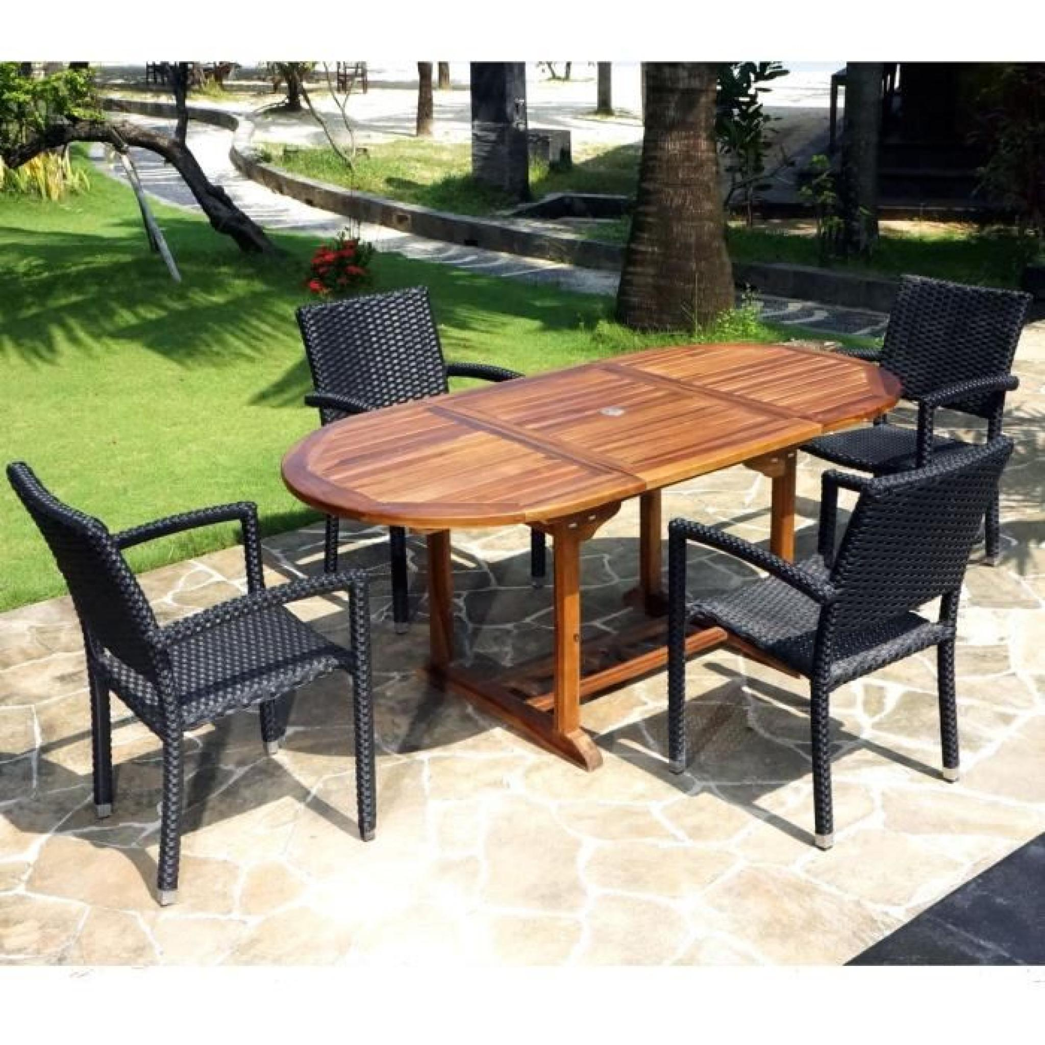salon de jardin en teck bali 4 fauteuils palma en r sine tress e achat vente salon de jardin. Black Bedroom Furniture Sets. Home Design Ideas