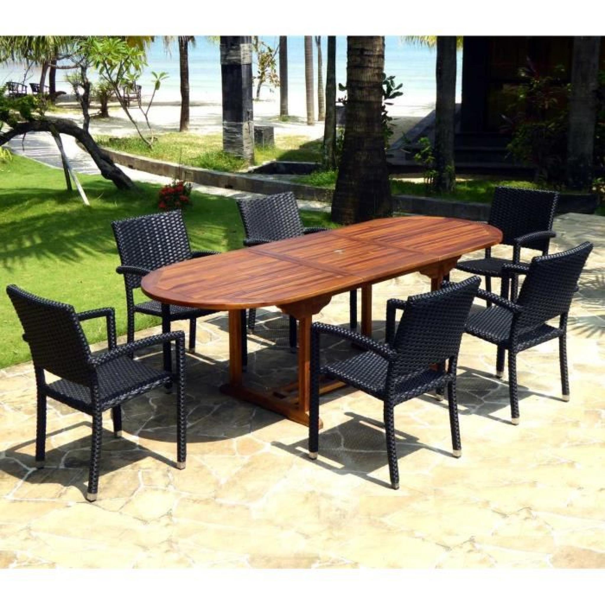 salon de jardin en teck huilé table 240 cm 6 fauteuils résine noire